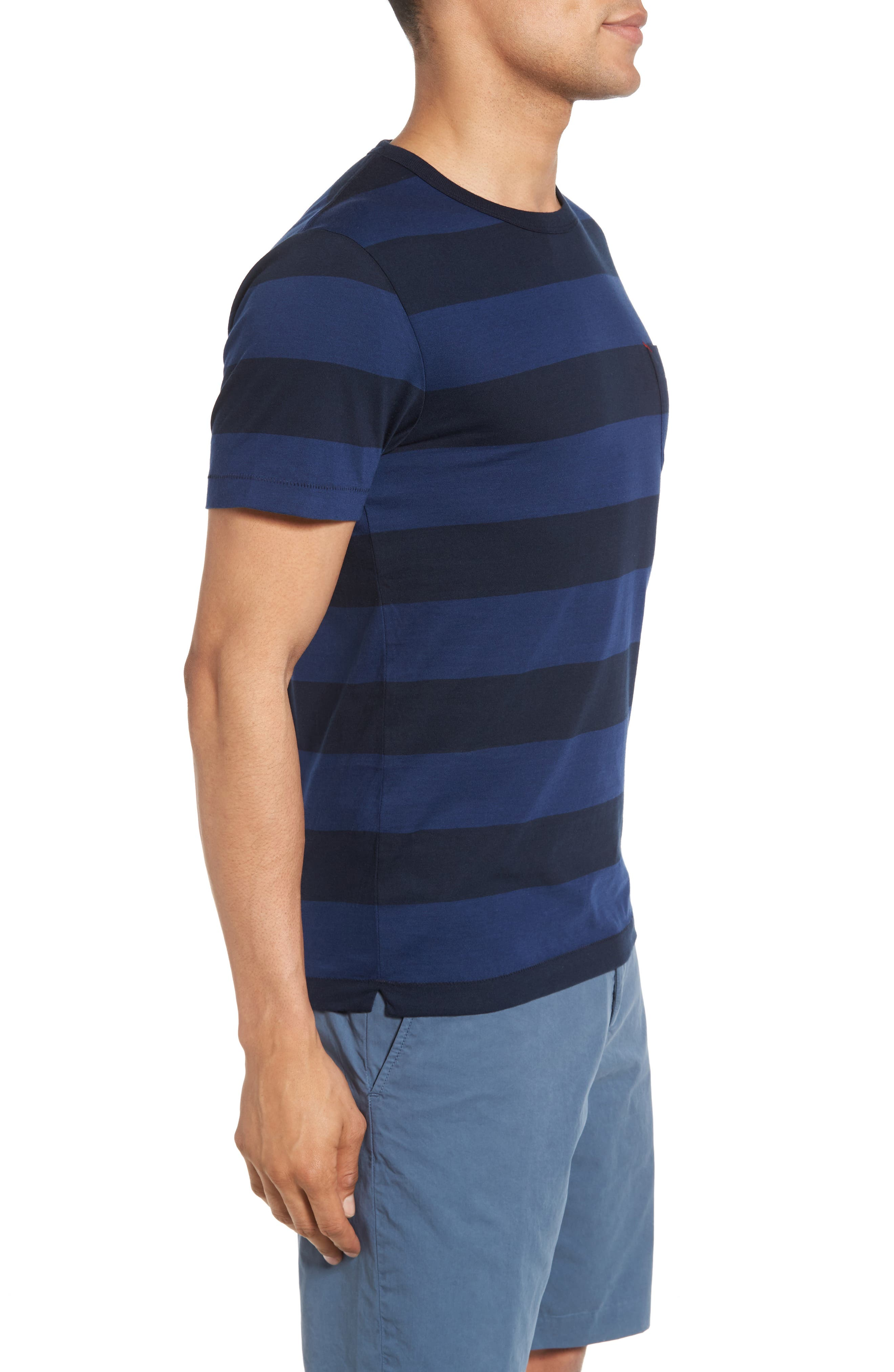 Varsity View Stripe Slim T-Shirt,                             Alternate thumbnail 3, color,                             415