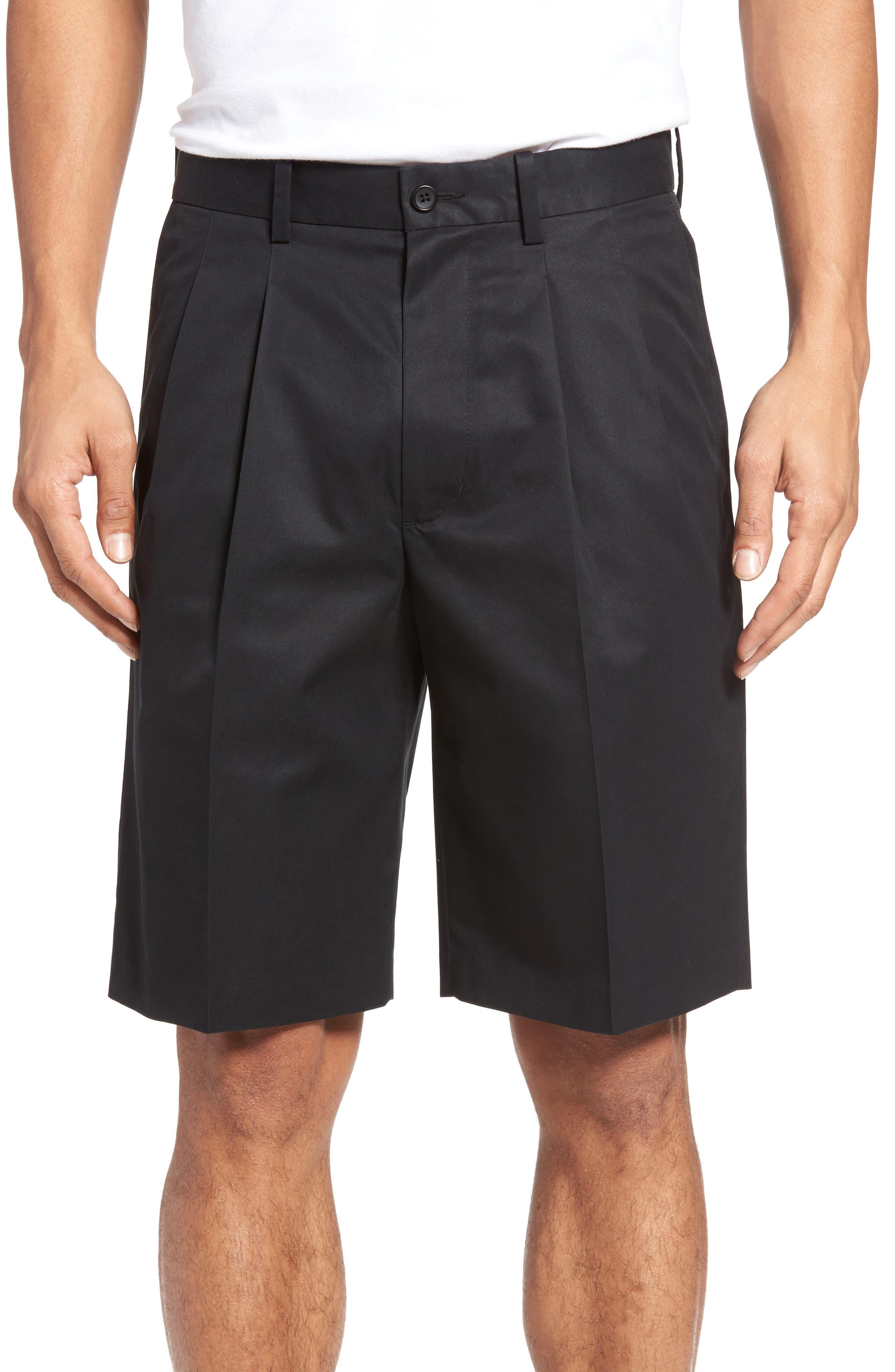 Pleated Supima<sup>®</sup> Cotton Shorts,                         Main,                         color,