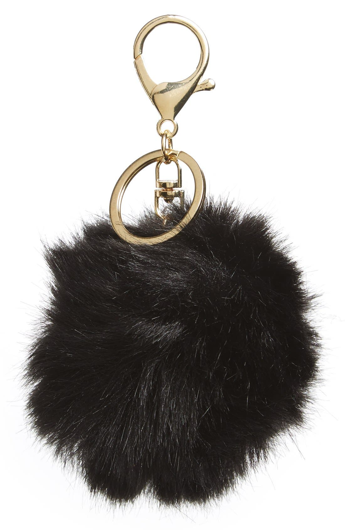 Faux Fur Pom Bag Charm,                             Main thumbnail 2, color,