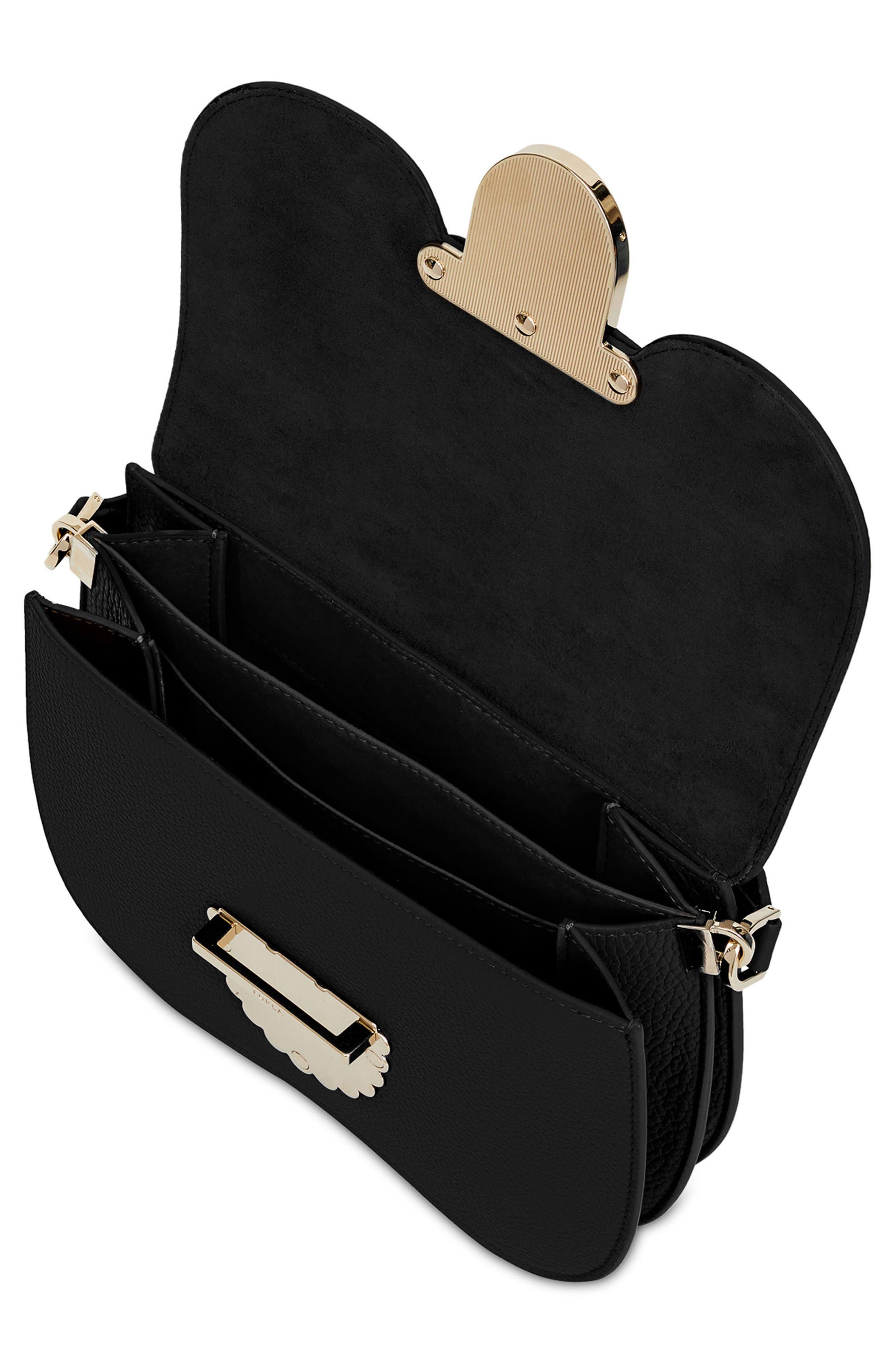 FURLA,                             Small Metropolis Leather Crossbody Bag,                             Alternate thumbnail 3, color,                             001