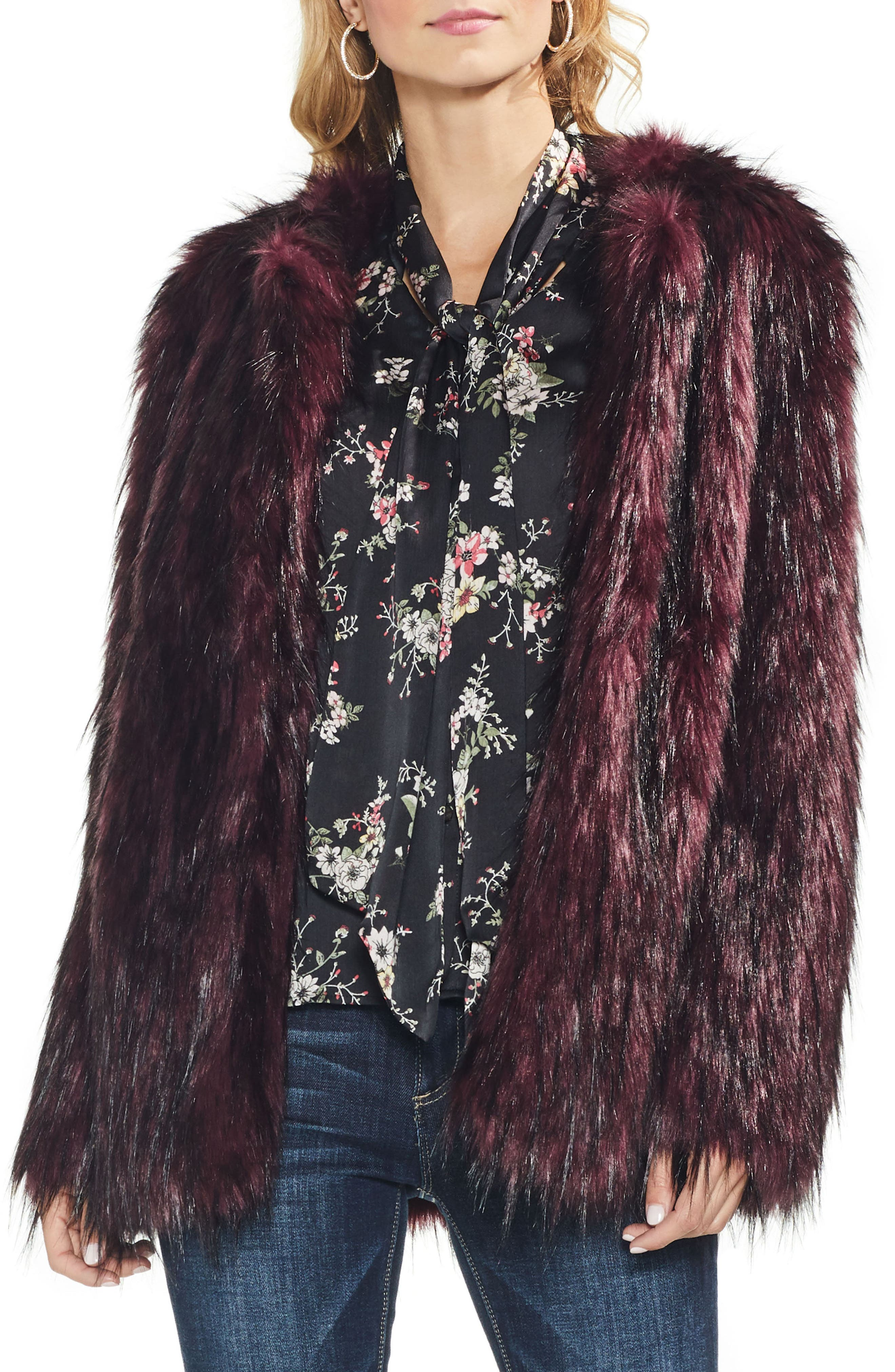 VINCE CAMUTO Open-Front Faux-Fur Jacket in Port