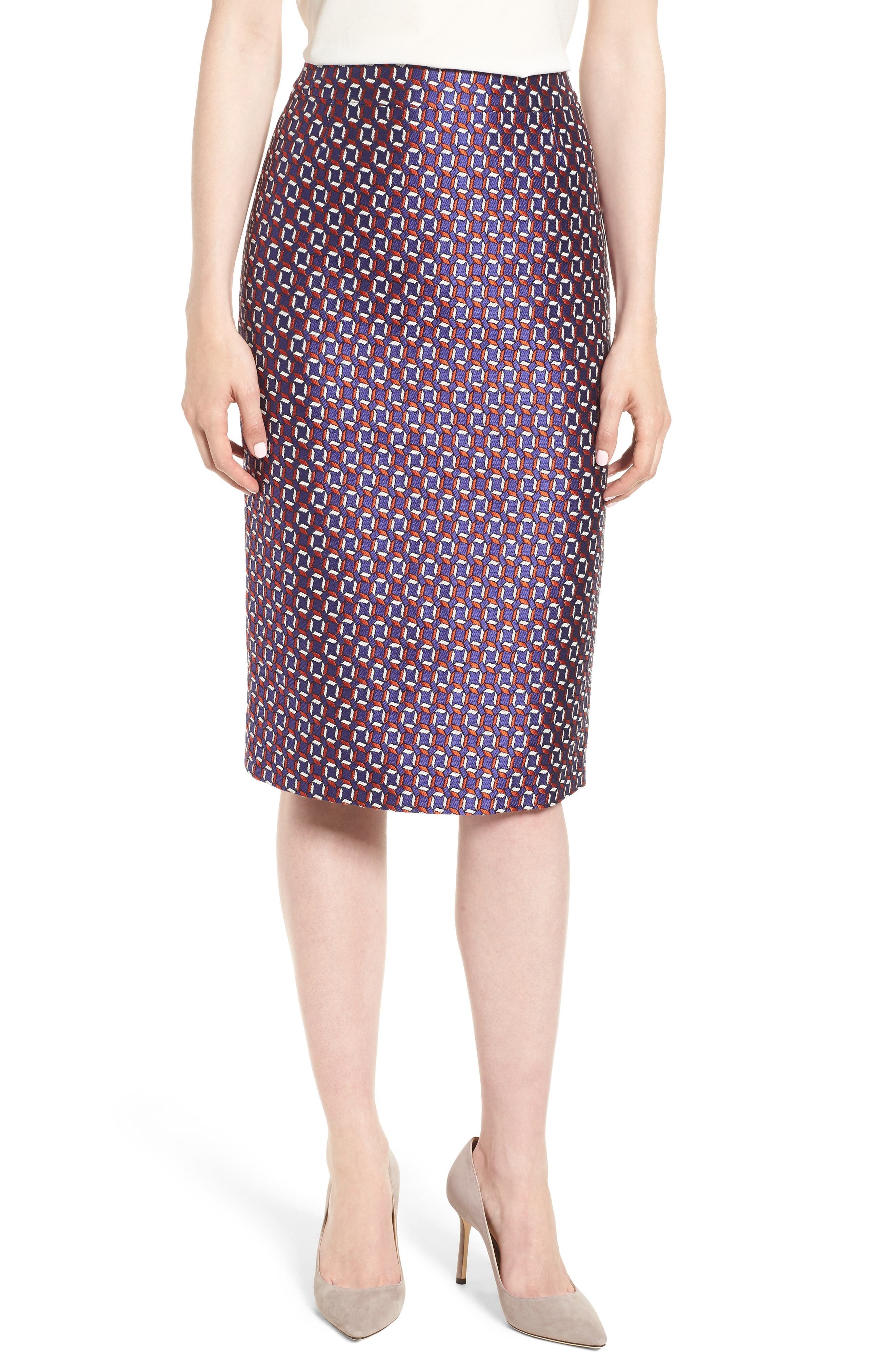 Varines Jacquard Pencil Skirt,                             Main thumbnail 1, color,                             575