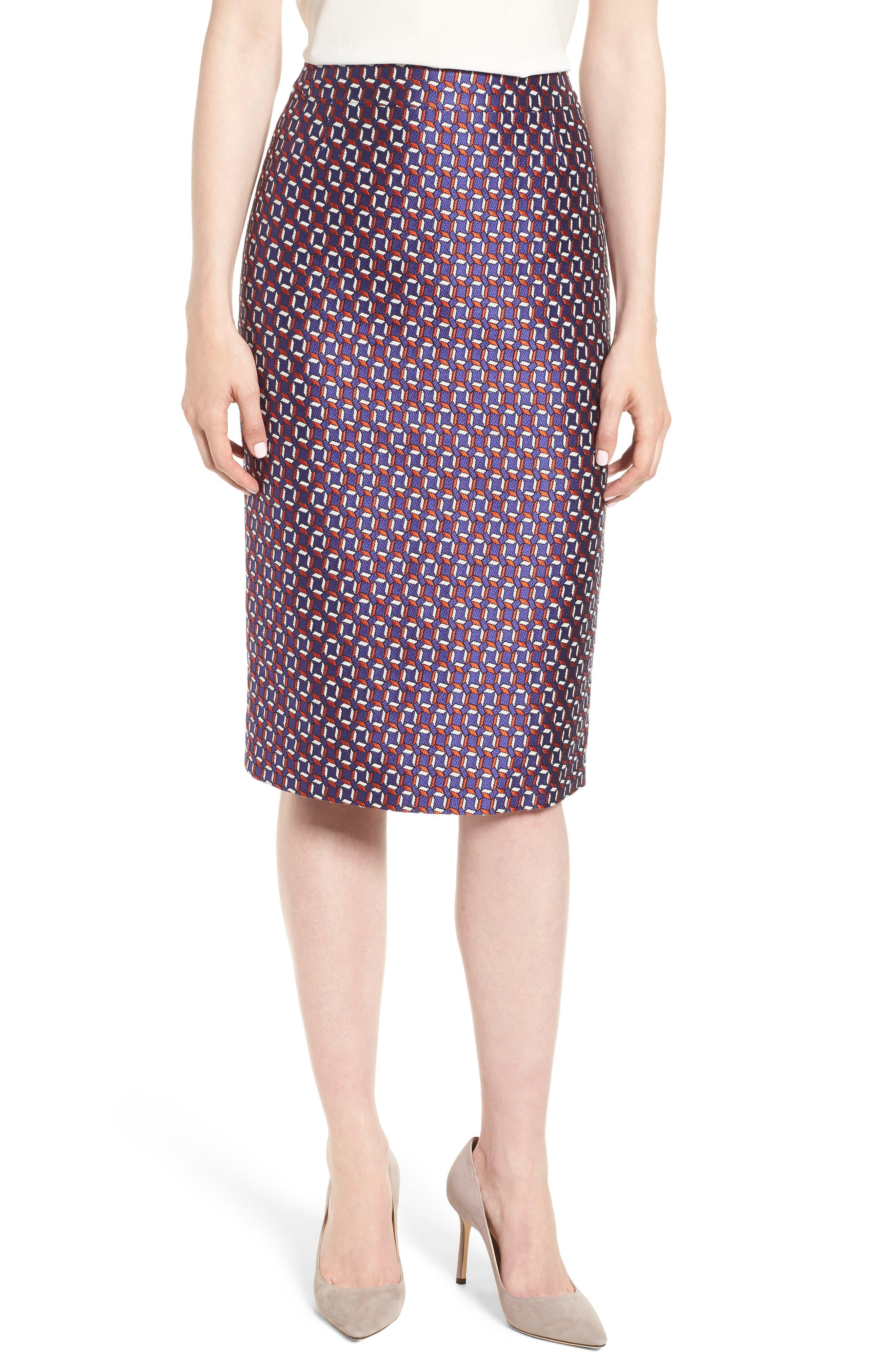 Varines Jacquard Pencil Skirt,                         Main,                         color, 575