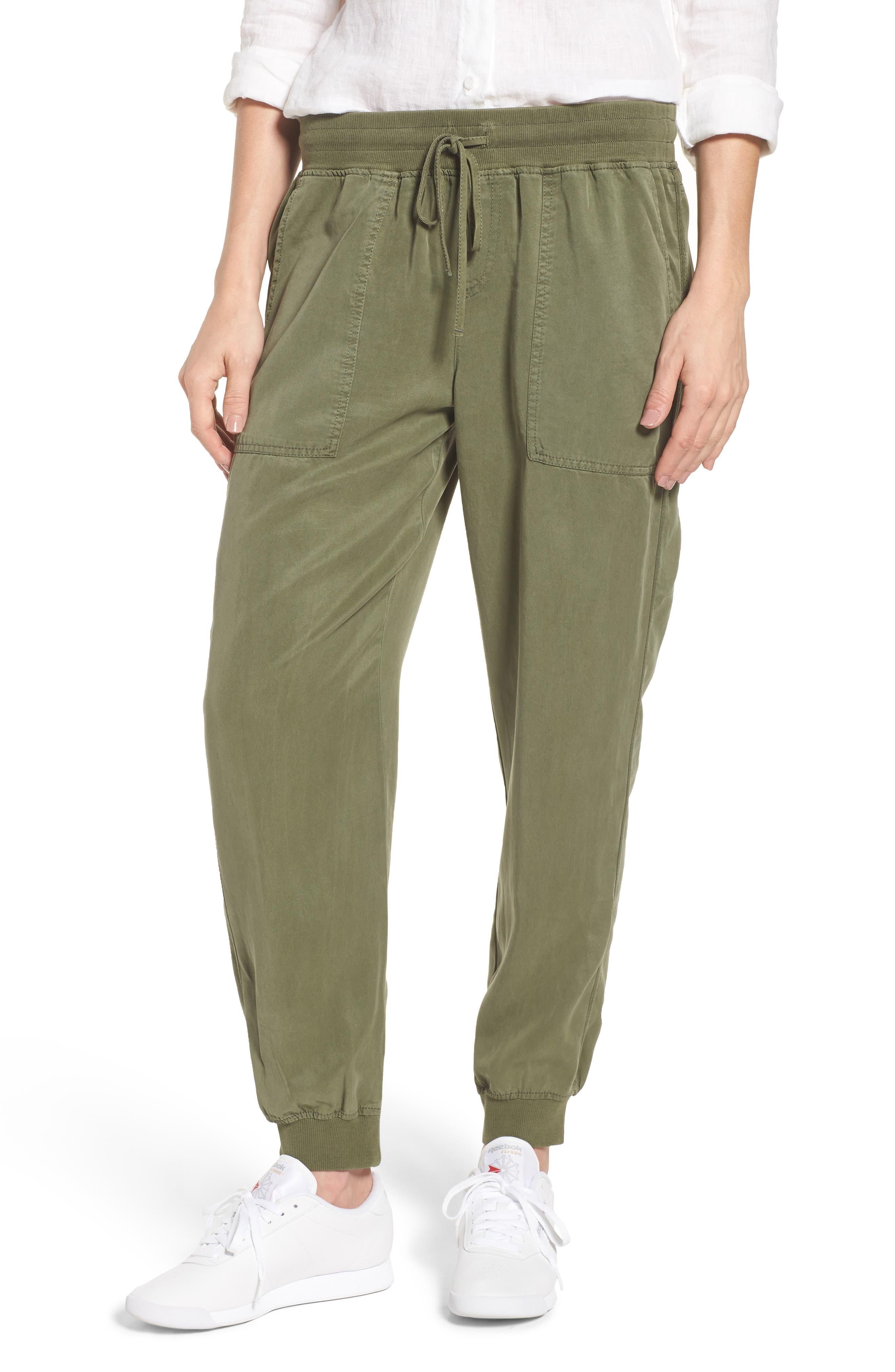 Twill Jogger Pants, Main, color, HUNTER GREEN