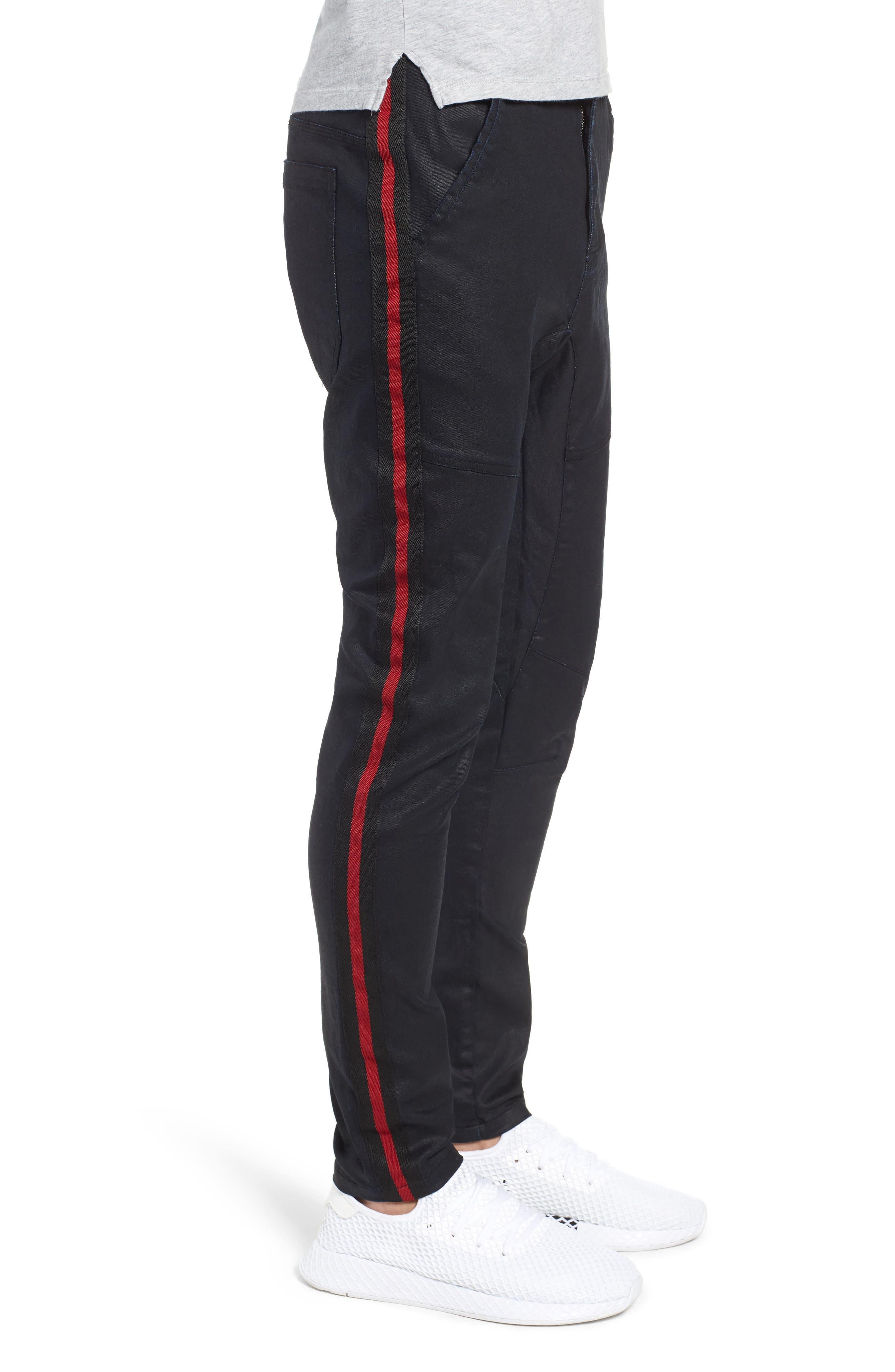 Baseline Taped Skinny Fit Jeans,                             Alternate thumbnail 3, color,                             WAX BLACK RED STRIPE