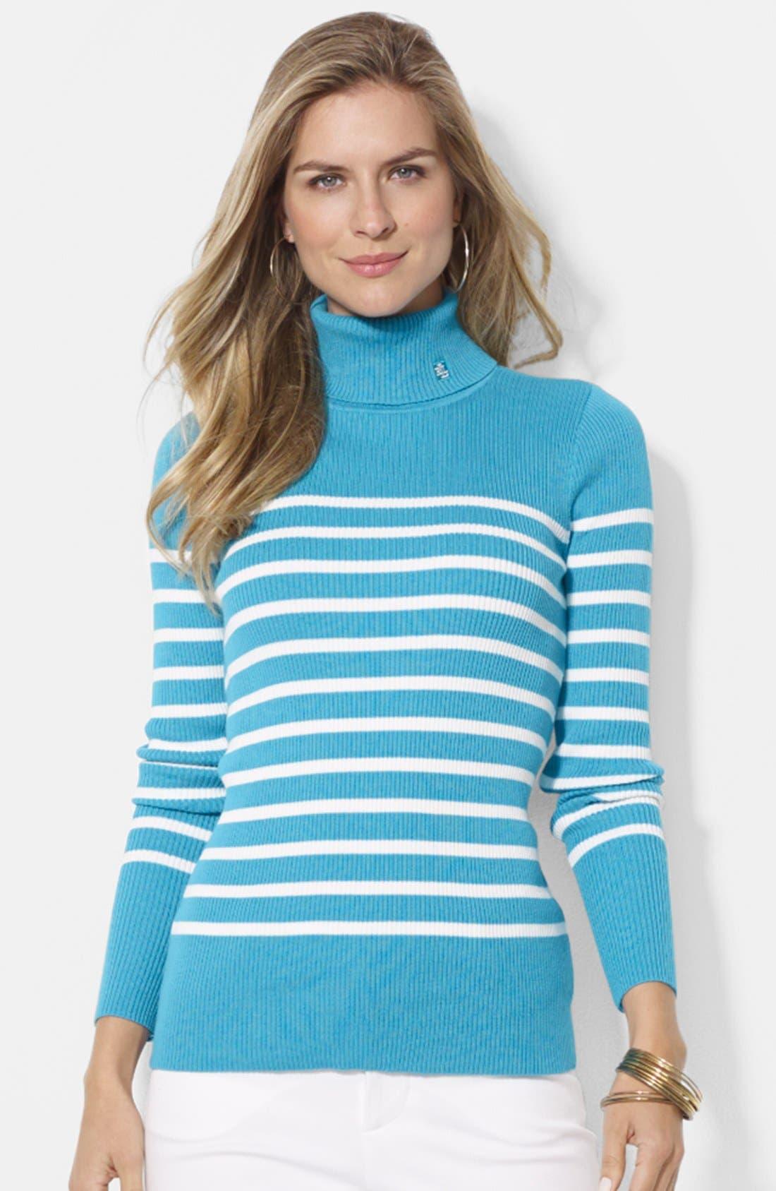 Stripe Ribbed Turtleneck Top,                         Main,                         color, 440