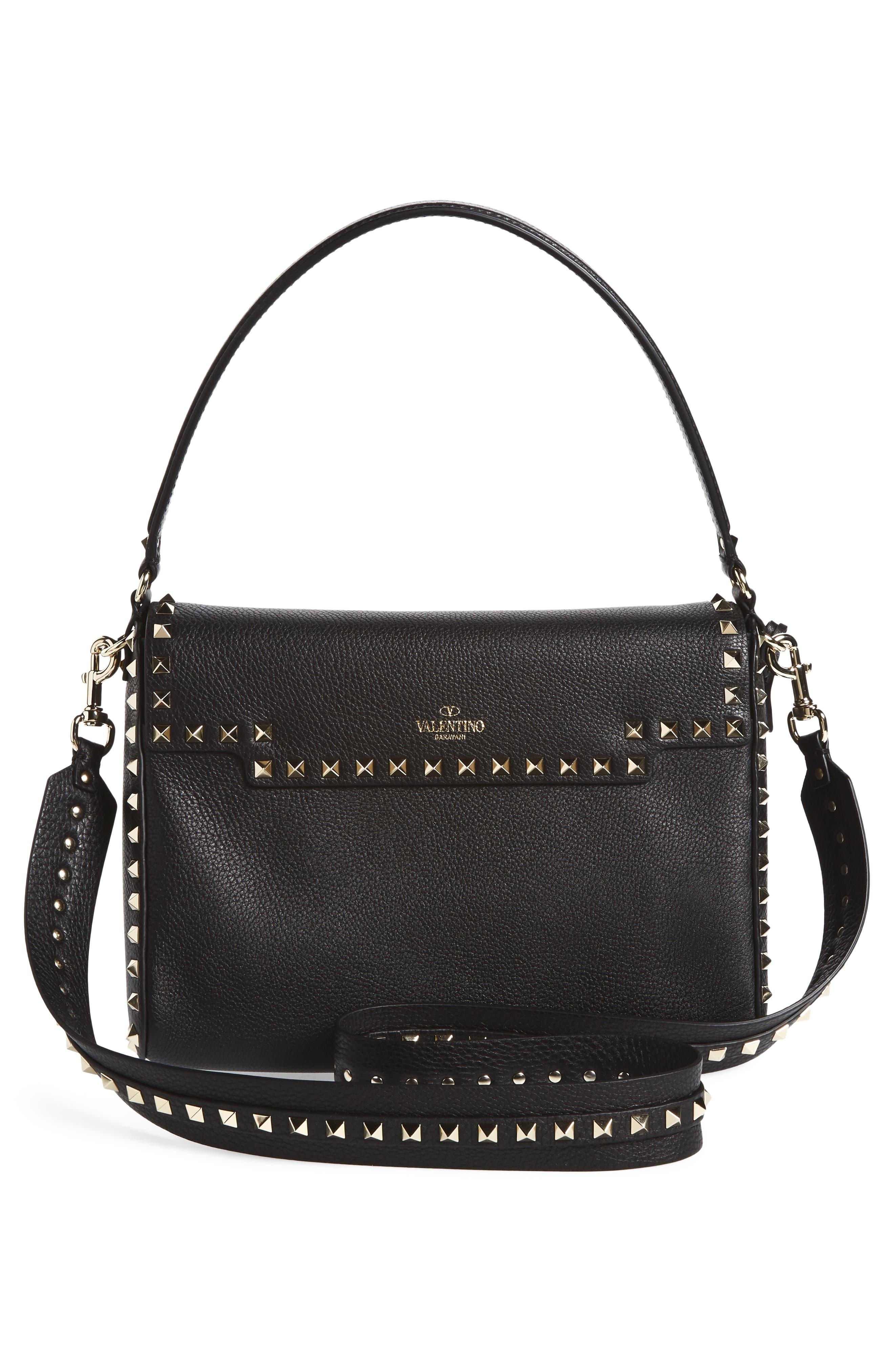 Medium Rockstud Leather Shoulder Bag,                             Alternate thumbnail 3, color,                             001