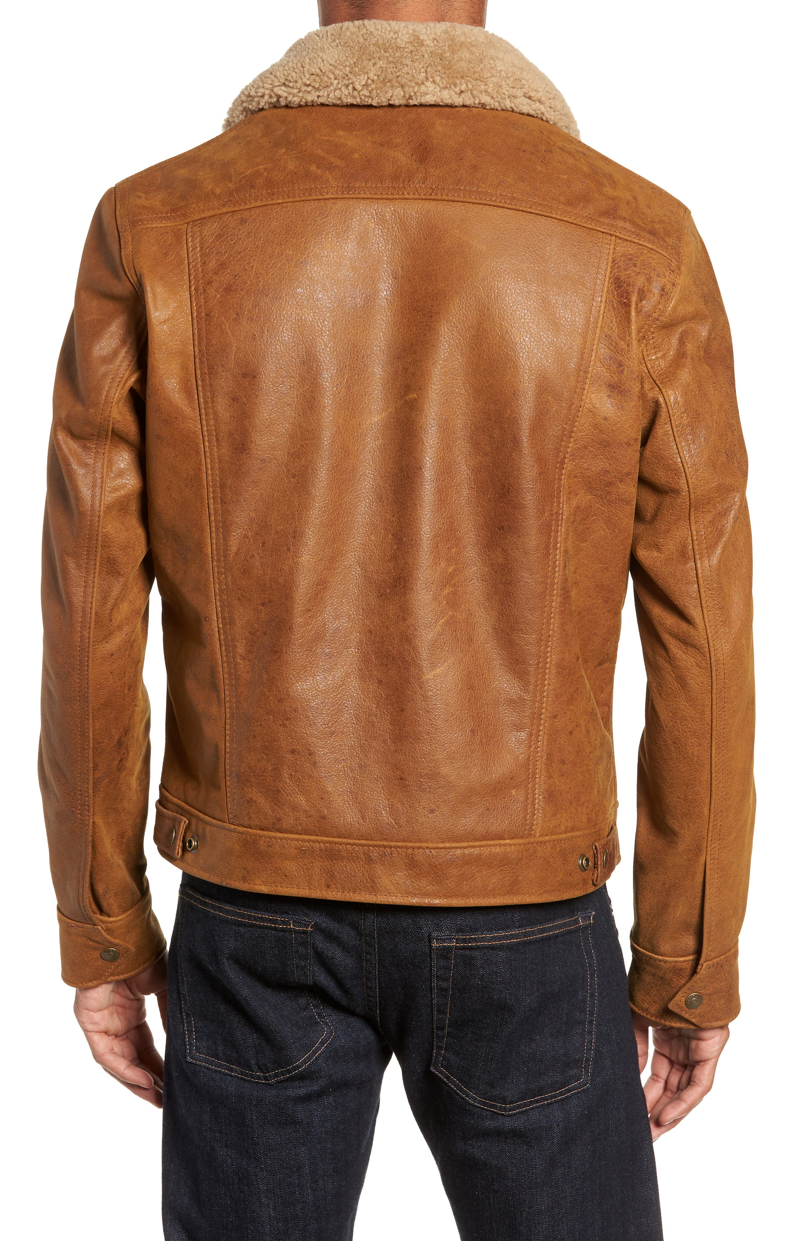 Vintage Buffalo Leather Trucker Jacket with Genuine Sheepskin Collar,                             Alternate thumbnail 2, color,                             SYCAMORE