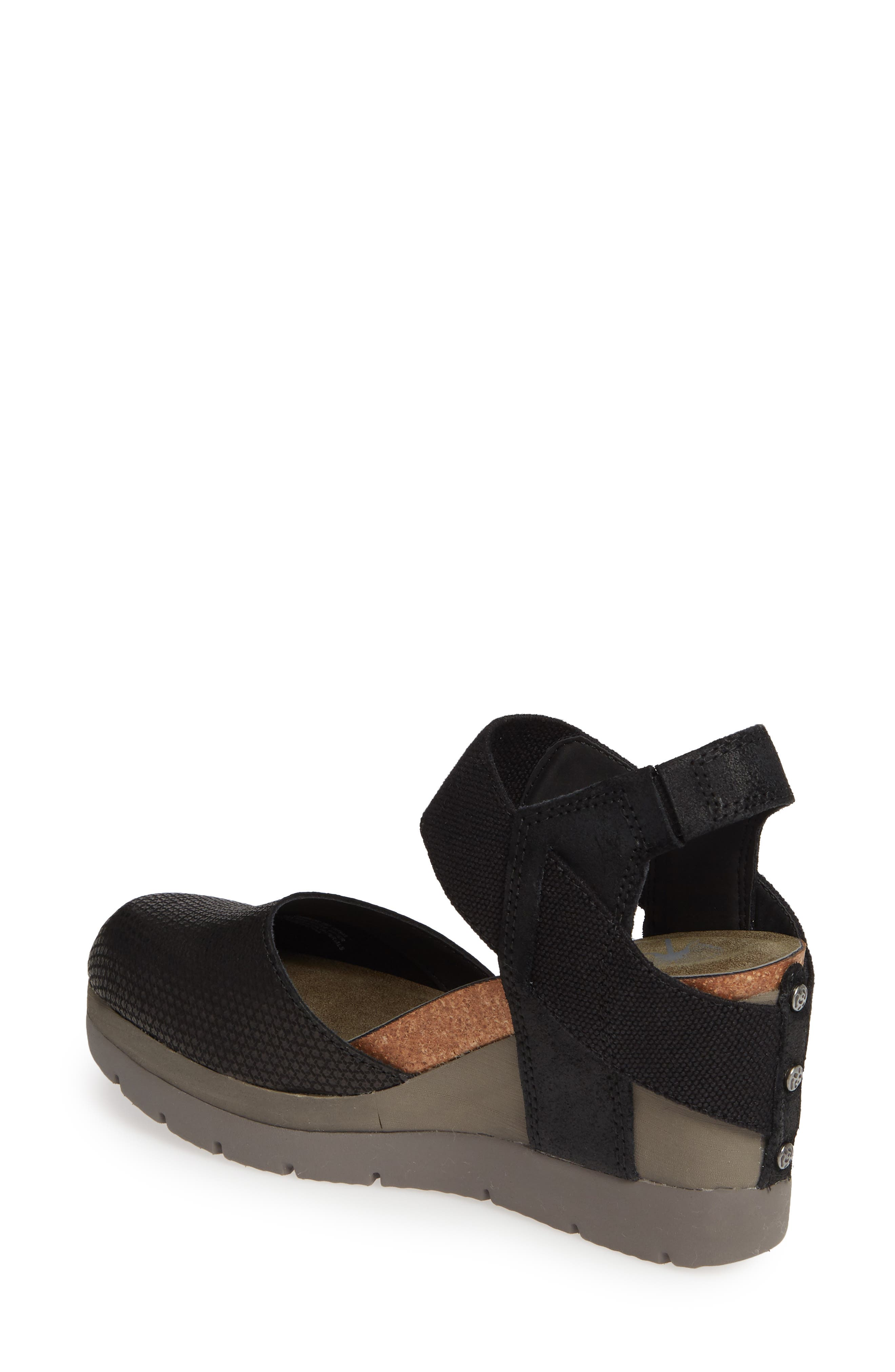Carry On Wedge Sandal,                             Alternate thumbnail 2, color,                             BLACK LEATHER