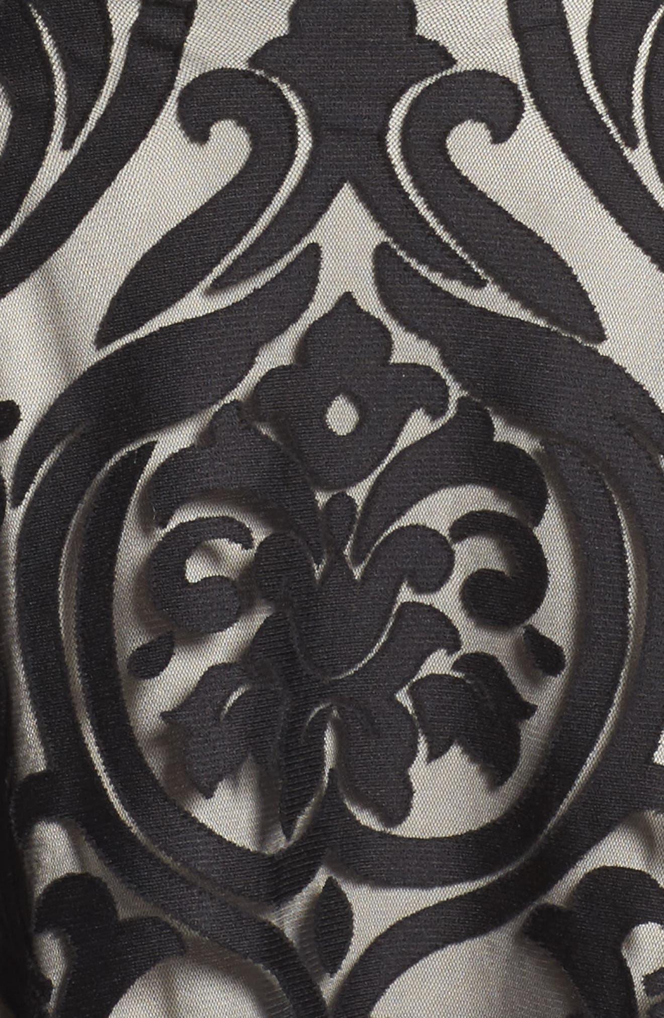 Mesh Waist Burnout Fit & Flare Dress,                             Alternate thumbnail 5, color,                             008