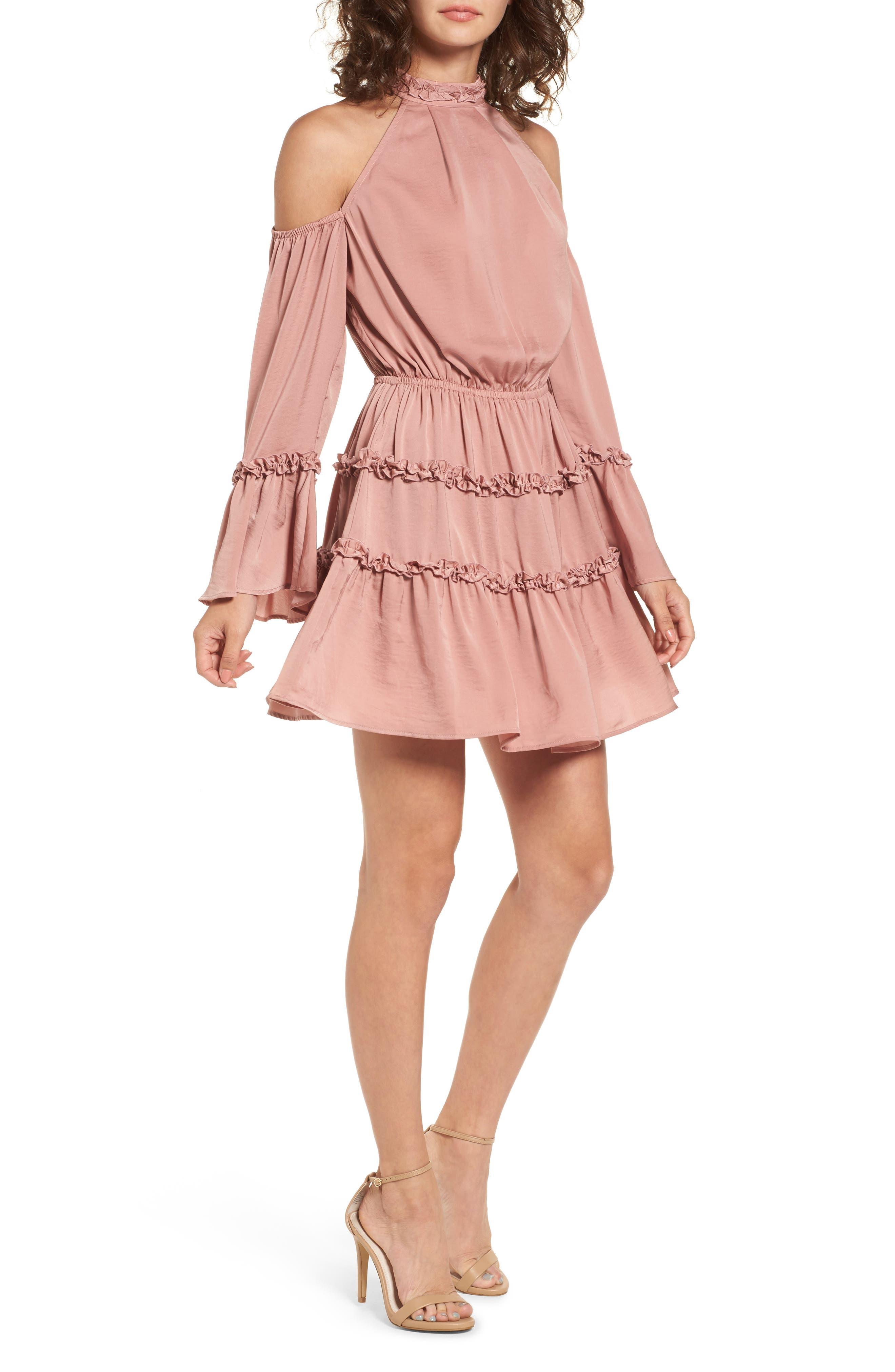 Banjo Ruffle Cold Shoulder Dress,                         Main,                         color, 683