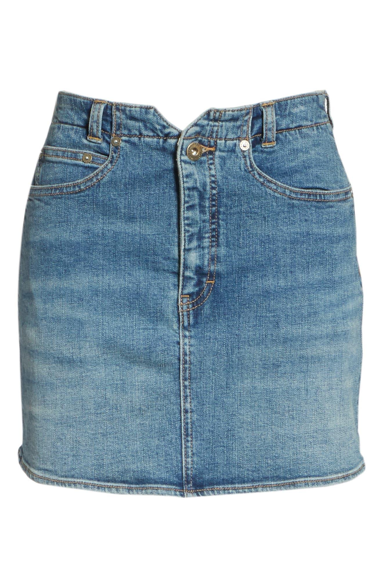 FREE PEOPLE,                             She's All That Denim Miniskirt,                             Alternate thumbnail 7, color,                             425