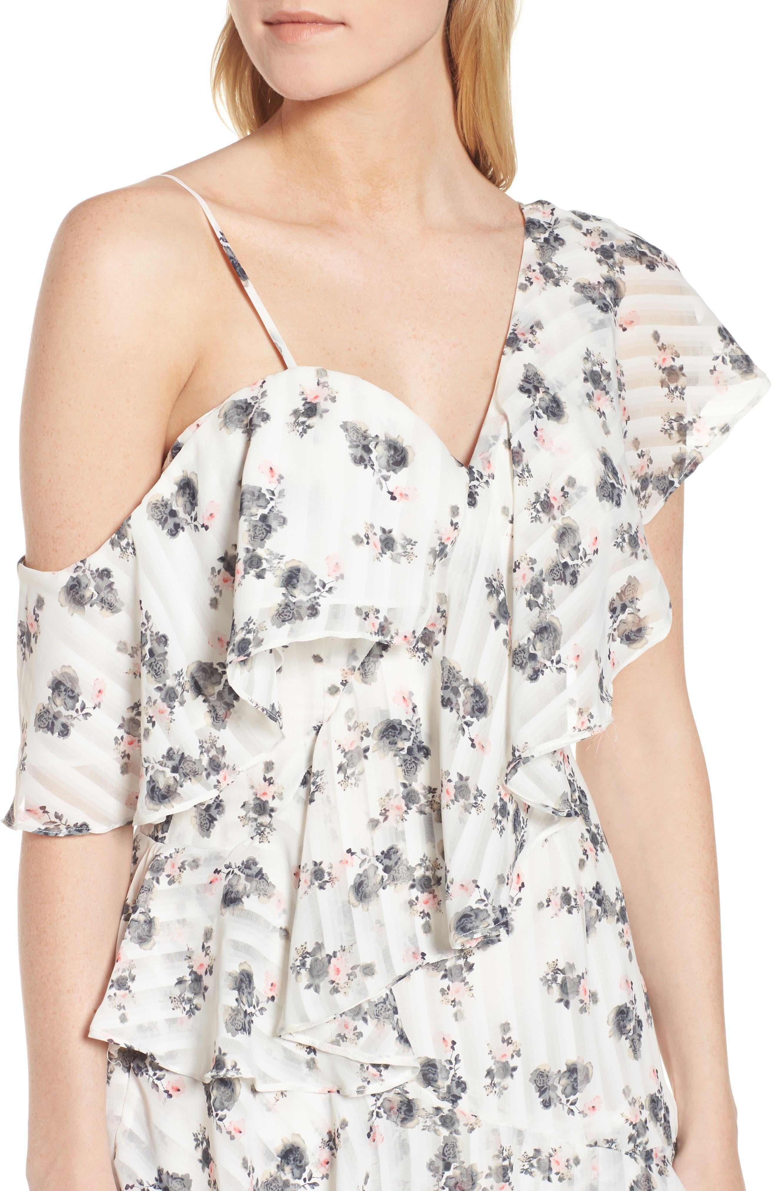 Bloom One-Shoulder Dress,                             Alternate thumbnail 4, color,                             100