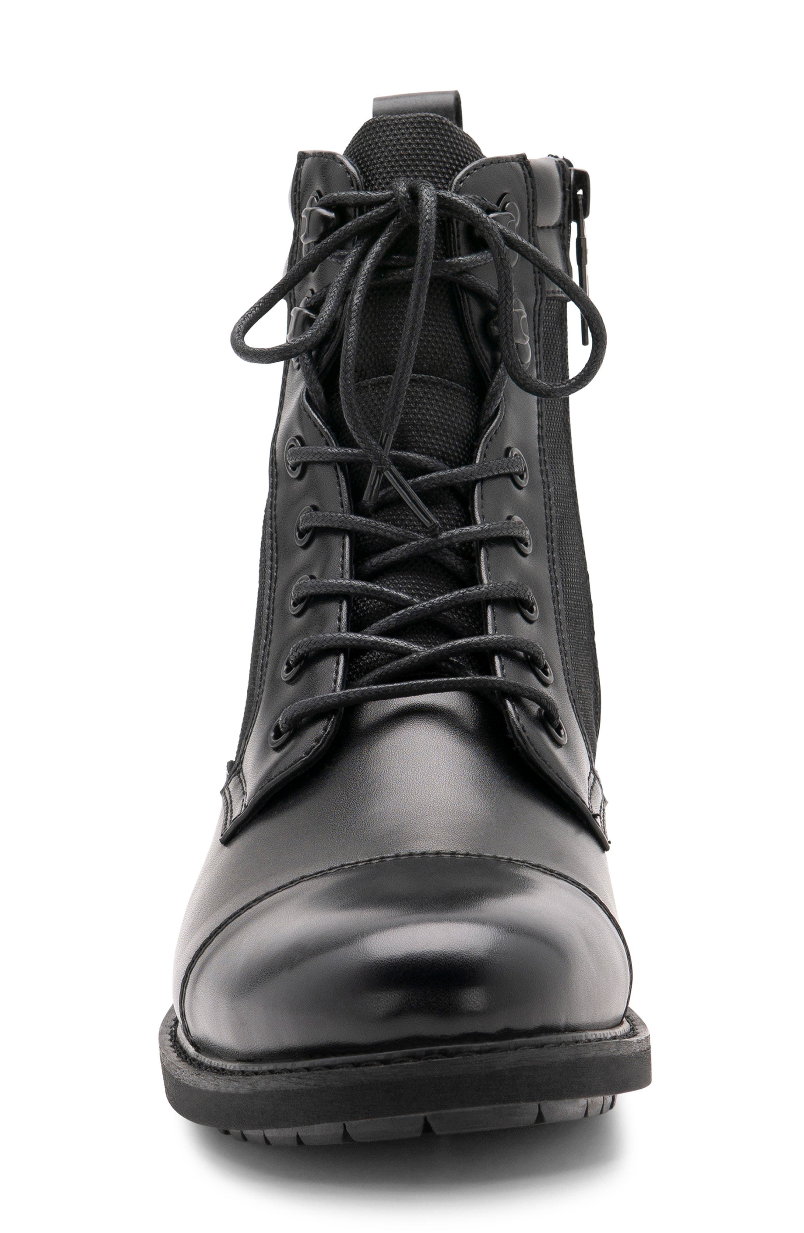 Paxton Waterproof Cap Toe Boot,                             Alternate thumbnail 4, color,                             BLACK LEATHER