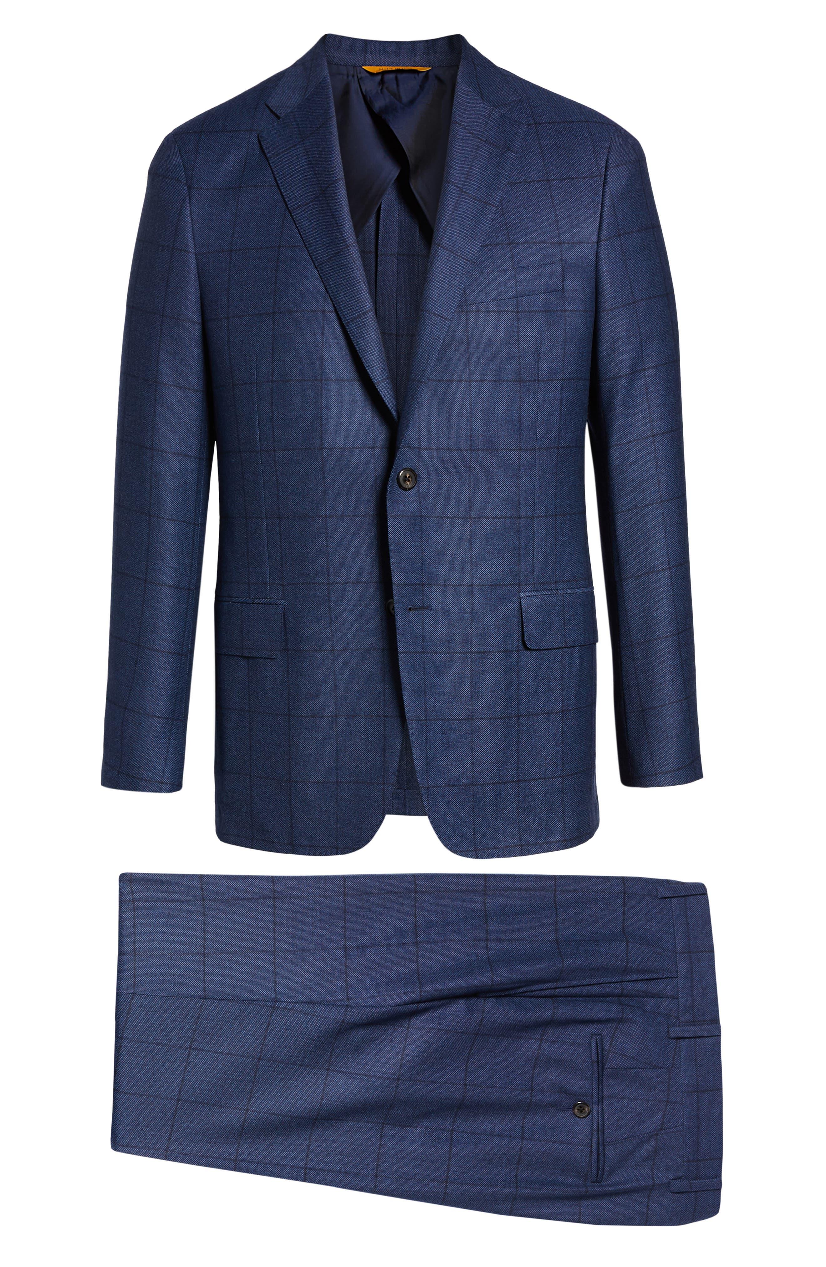Classic Fit Windowpane Wool & Cashmere Suit,                             Alternate thumbnail 8, color,                             MEDIUM BLUE