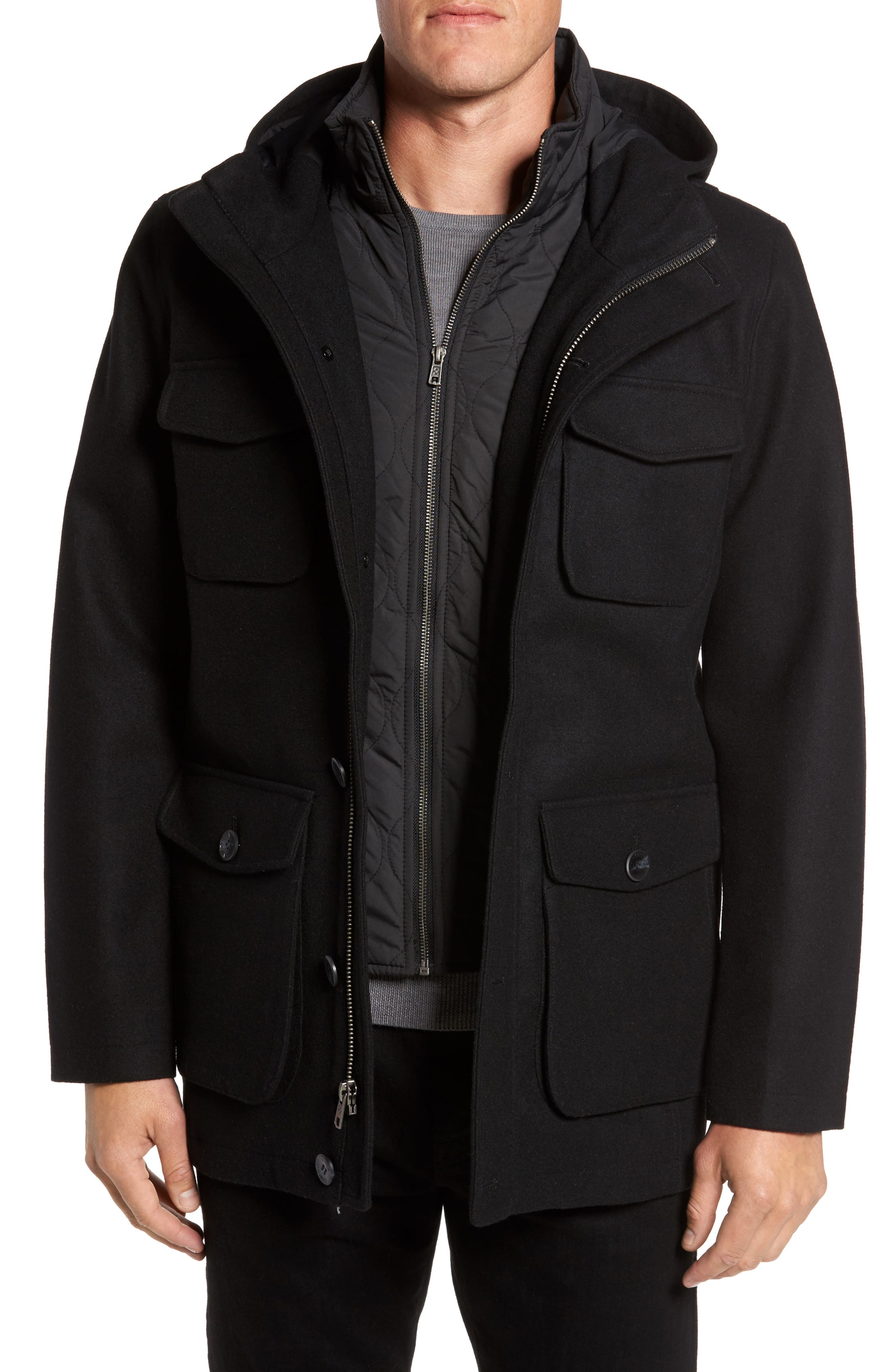 Hooded Jacket with Removable Bib,                             Main thumbnail 1, color,                             001