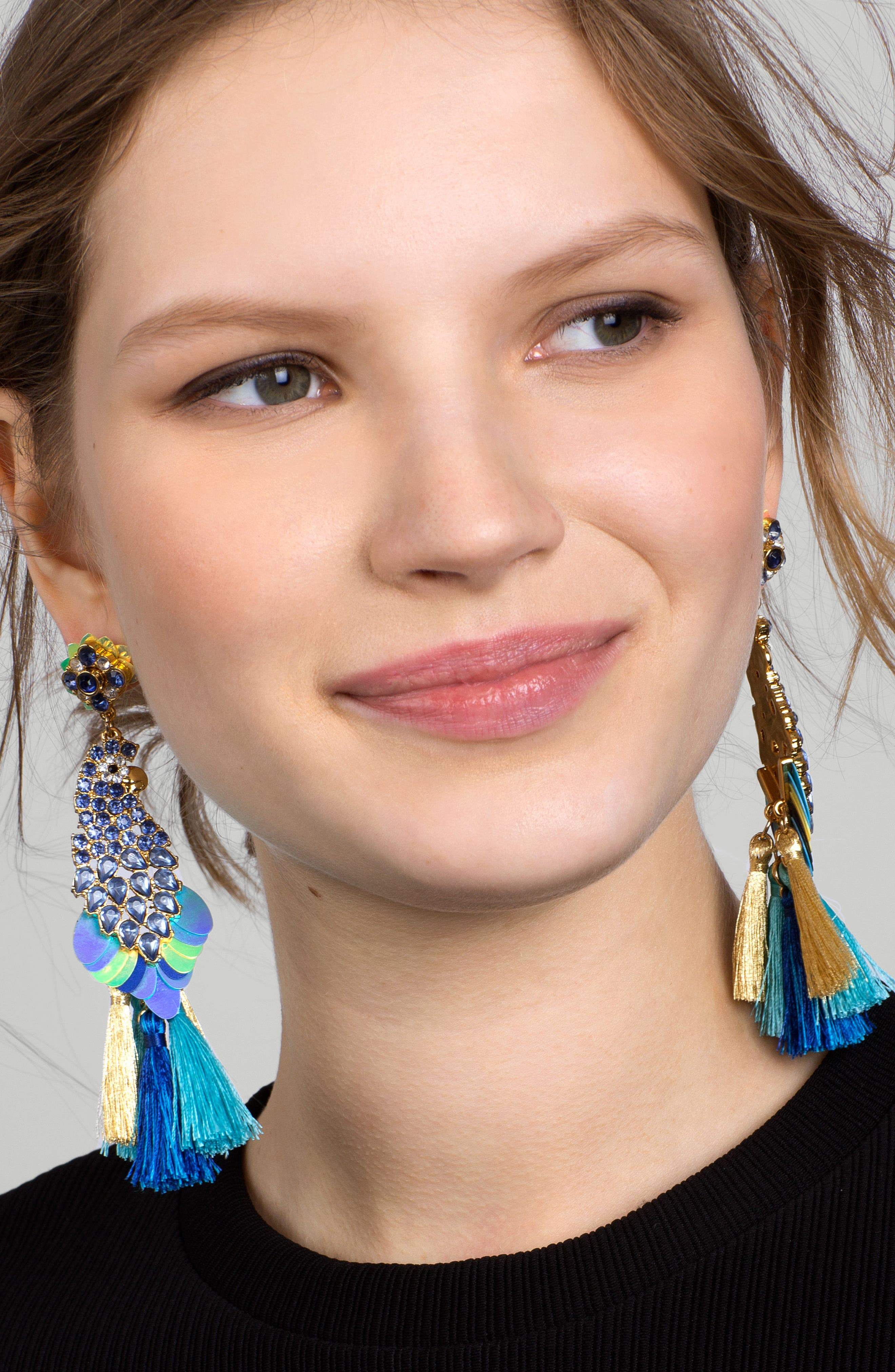 Macaw Statement Earrings,                             Alternate thumbnail 2, color,                             400
