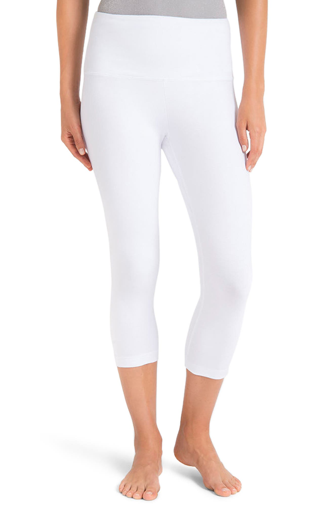 Control Top High Waist Capris,                             Alternate thumbnail 2, color,                             WHITE