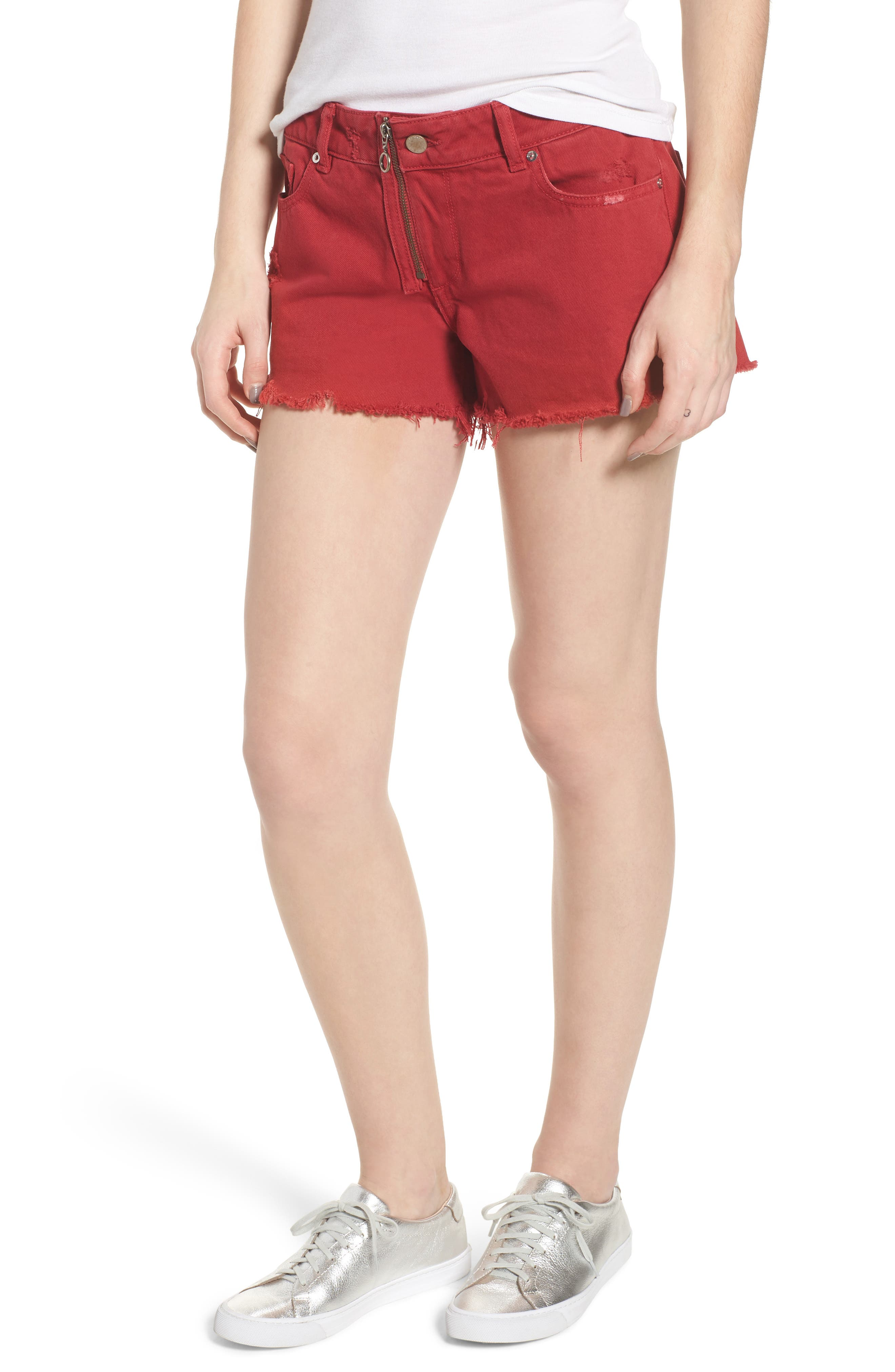 Renee Cutoff Denim Shorts,                         Main,                         color, CHERRY BOMB