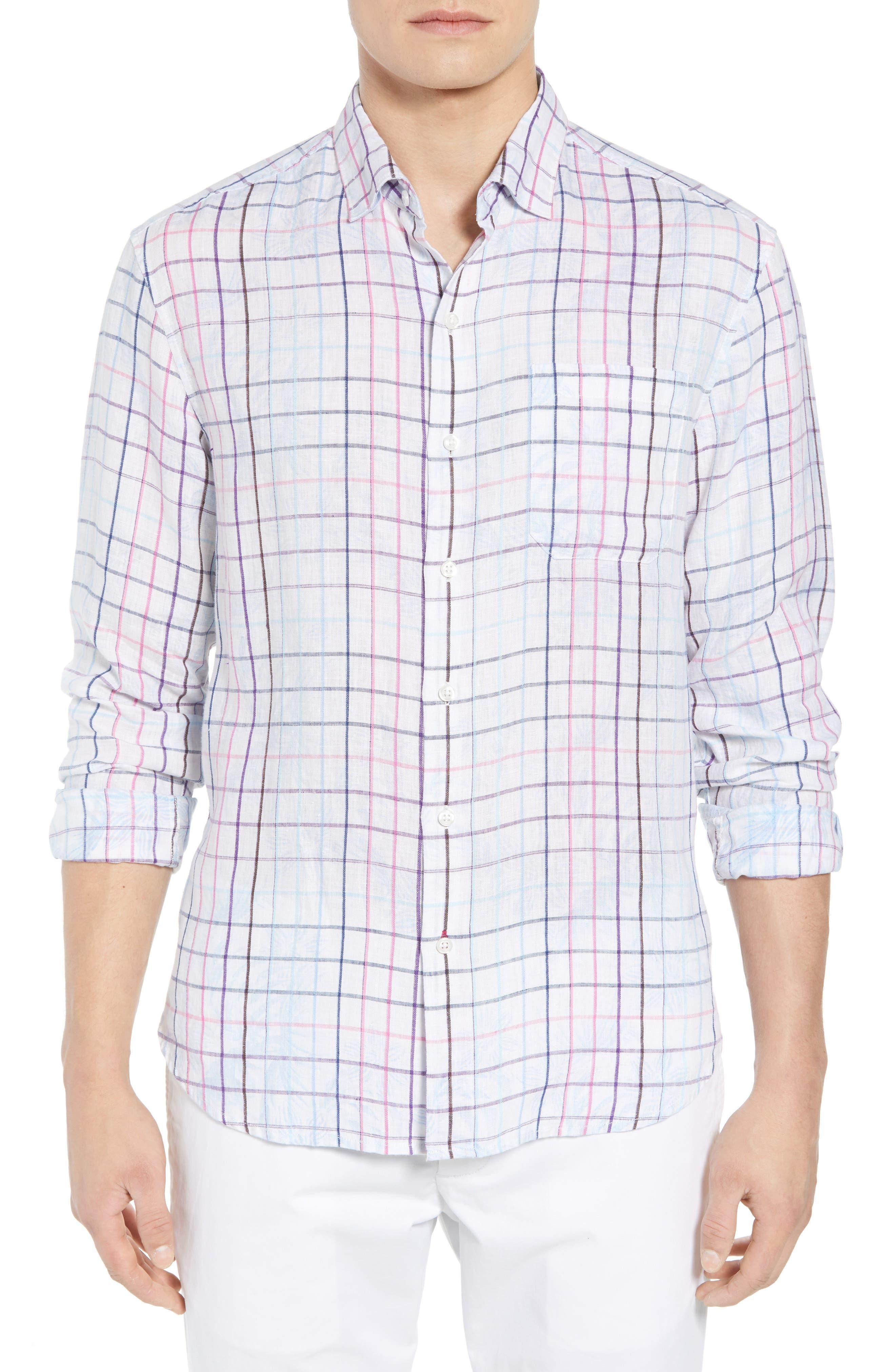 Tulum Terrace Check Linen Sport Shirt,                         Main,                         color, BOWTIE BLUE