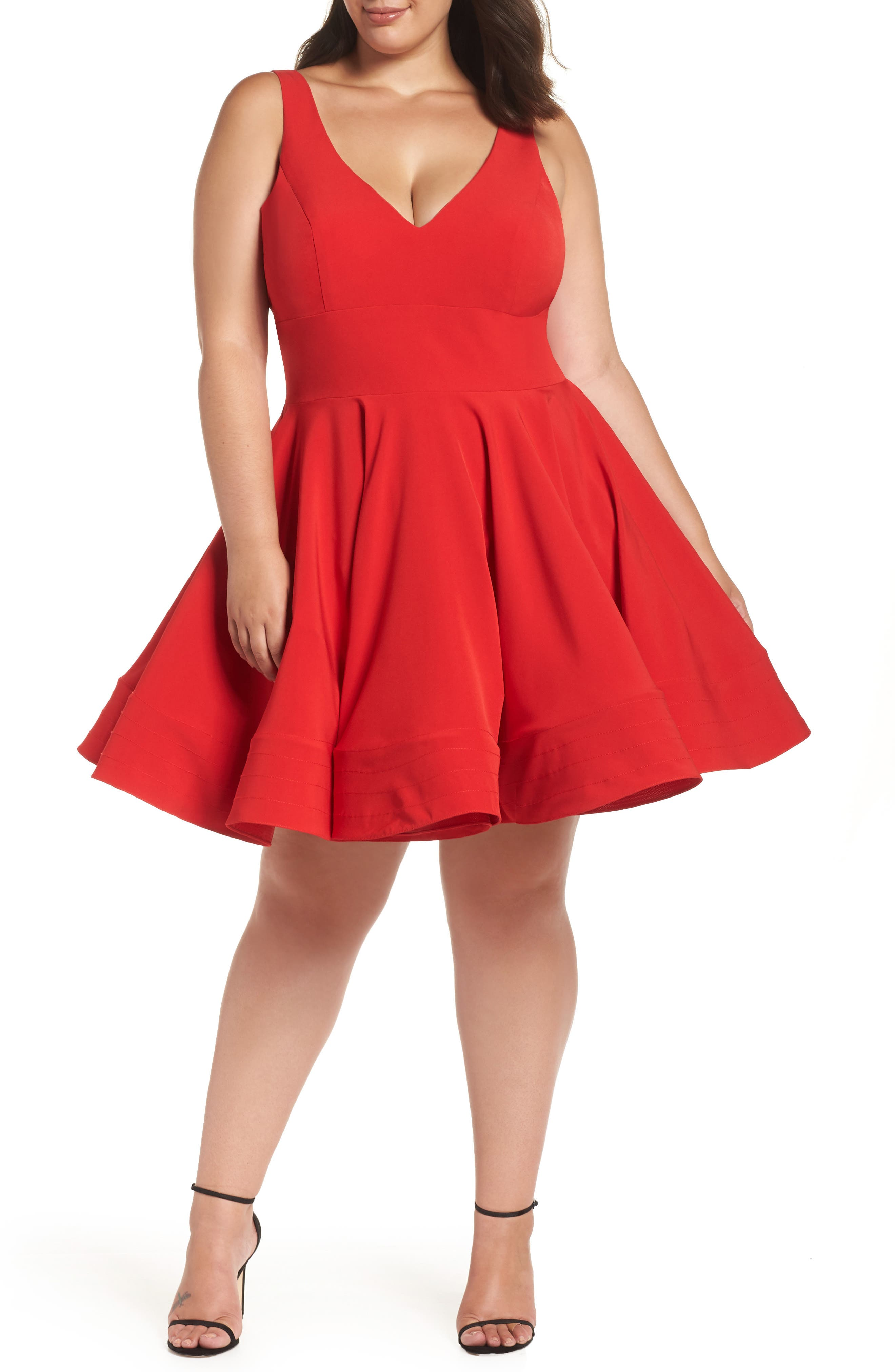 MAC DUGGAL Sleeveless V-Neck Fit-And-Flare Dress W/ Pockets, Plus Size in Red
