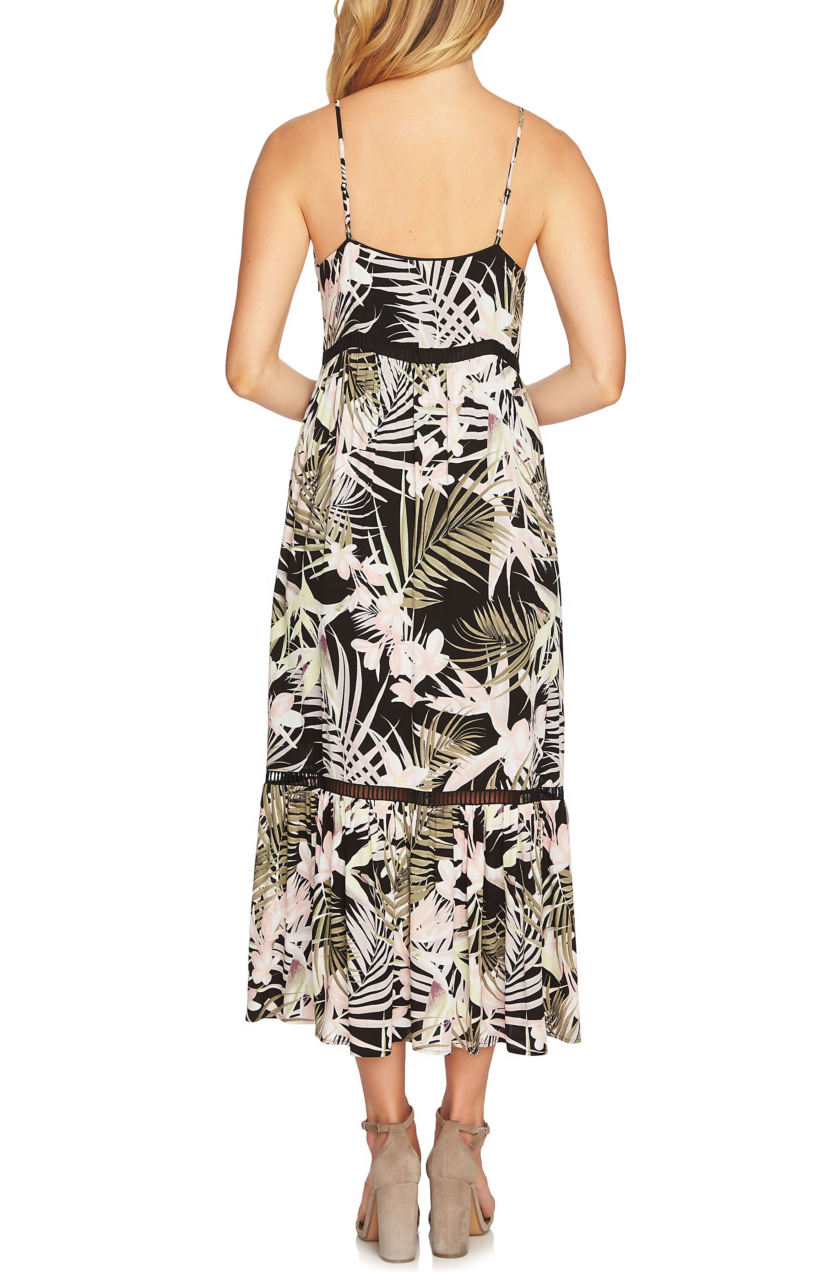 CECE,                             Soft Palms Midi Dress,                             Alternate thumbnail 2, color,                             006