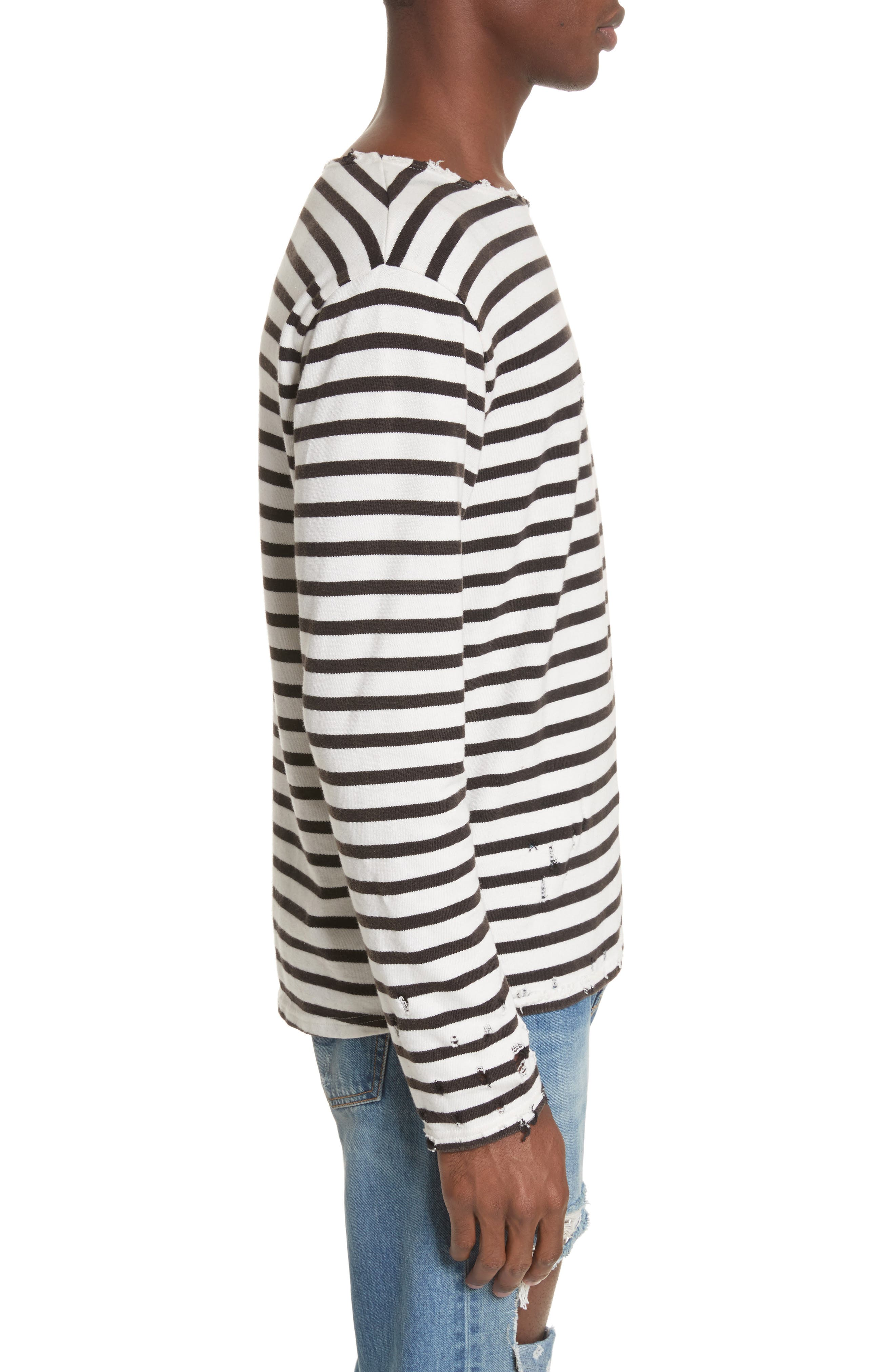 Distressed Stripe Long Sleeve T-Shirt,                             Alternate thumbnail 3, color,                             BLACK W/ ECRU