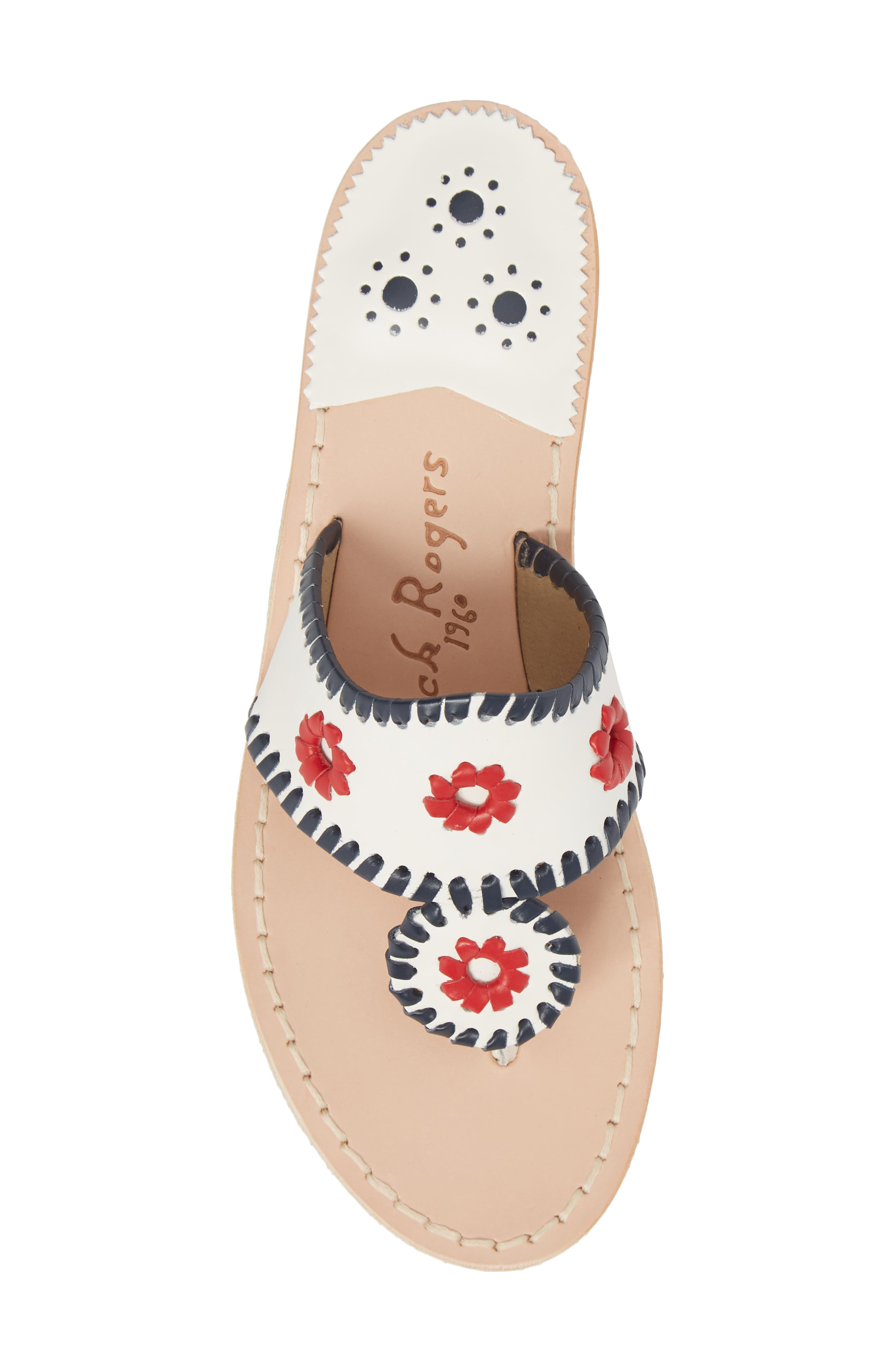 Patriotic Jack Sandal,                             Alternate thumbnail 5, color,                             WHITE/ NAVY/ RED LEATHER