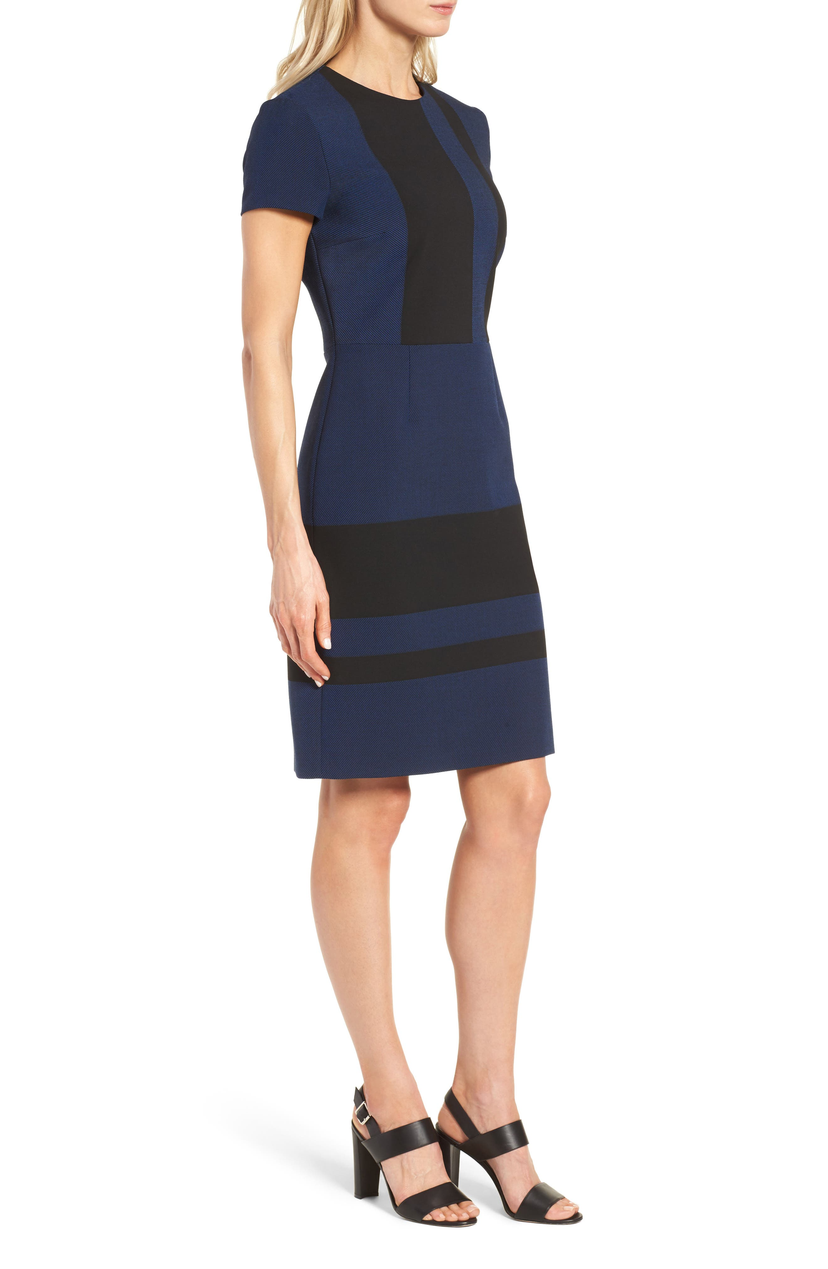 Hermely Stripe Sheath Dress,                             Alternate thumbnail 3, color,                             400