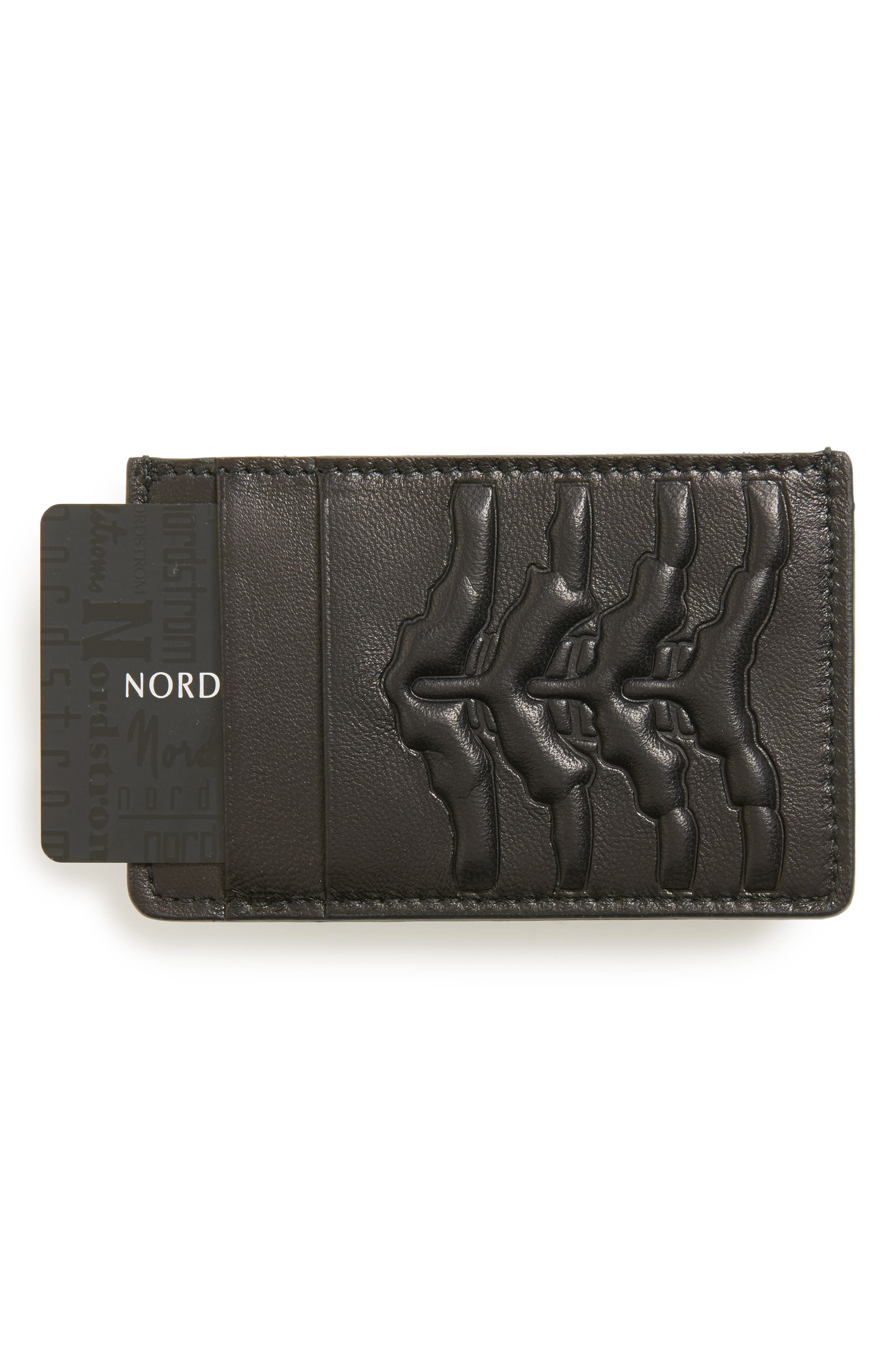 Rib Cage Leather Card Holder,                             Alternate thumbnail 3, color,                             BLACK