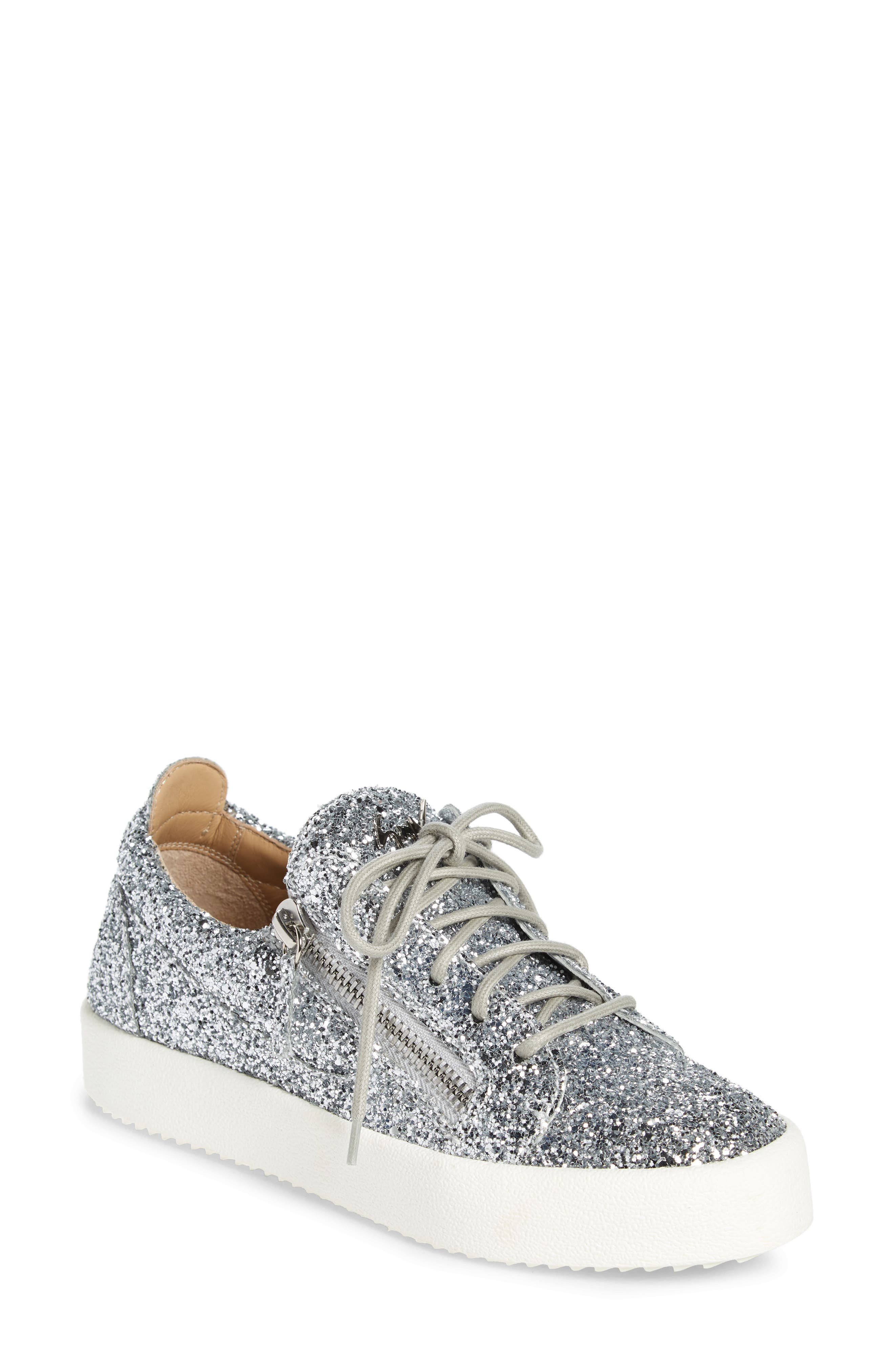 May London Low Top Sneaker,                             Main thumbnail 1, color,                             SILVER GLITTER