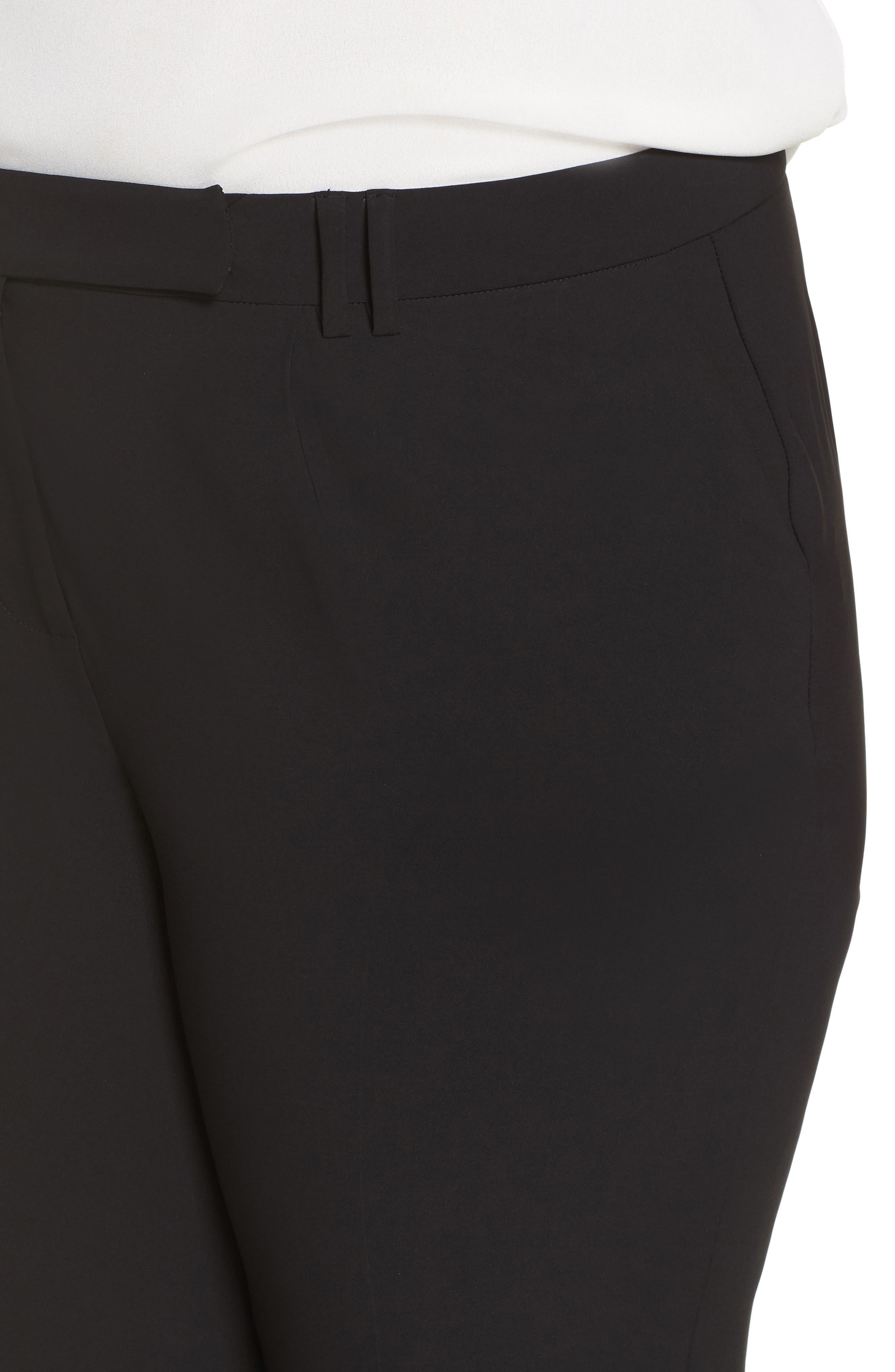 Tab Front Ankle Pants,                             Alternate thumbnail 4, color,                             BLACK