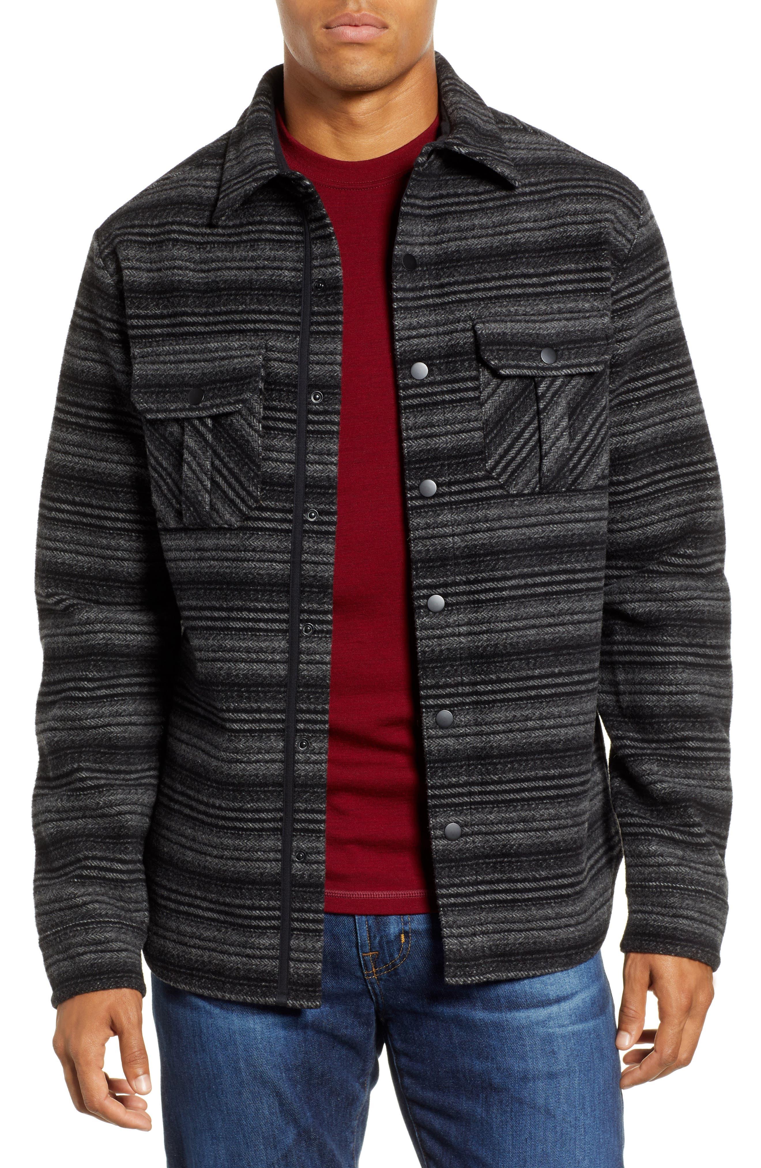 Anchor Line Flannel Shirt Jacket,                         Main,                         color, MEDIUM GREY/ BLACK