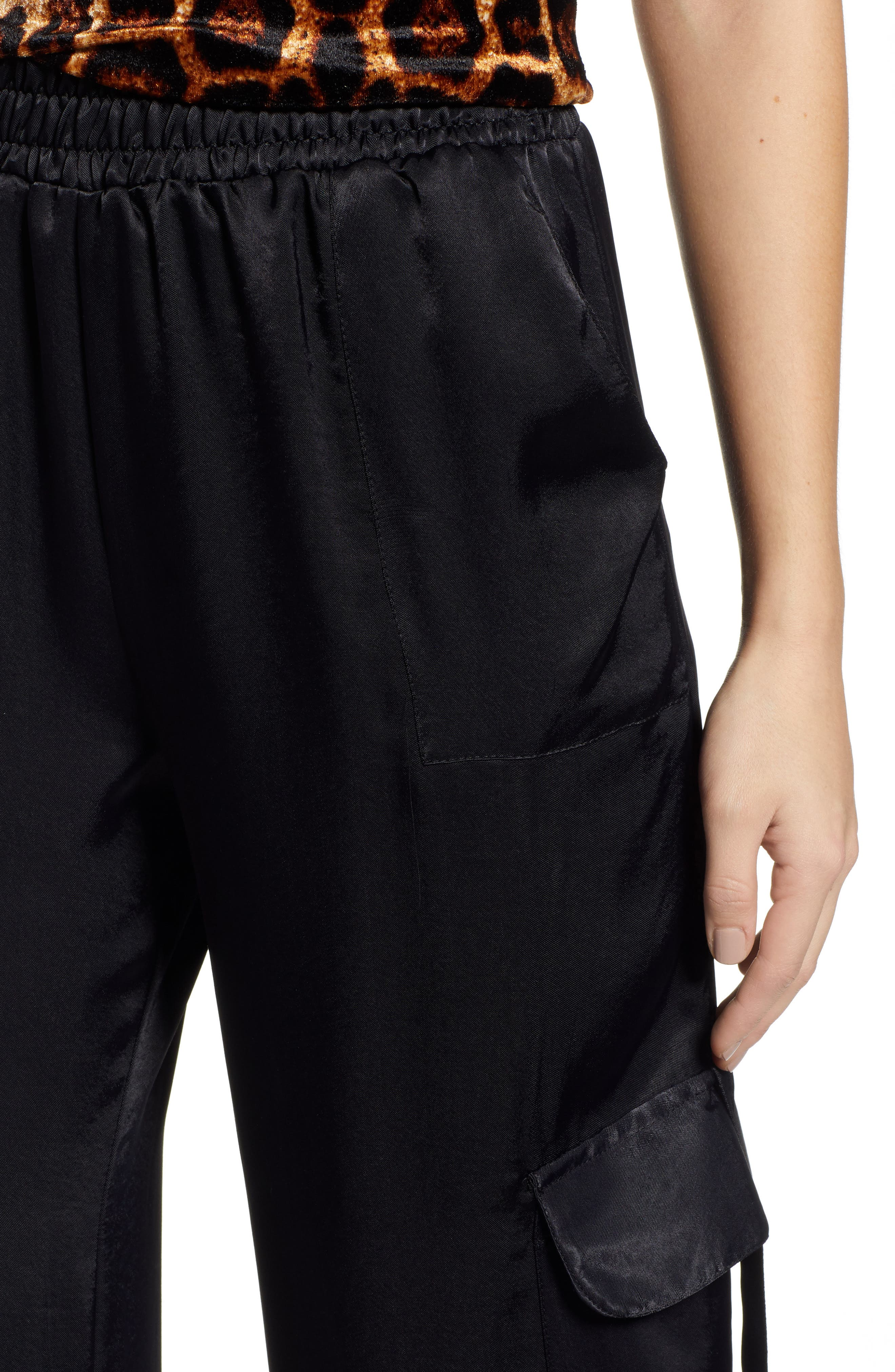 x We Own the Night Satin Combat Wide Leg Trousers,                             Alternate thumbnail 4, color,                             BLACK