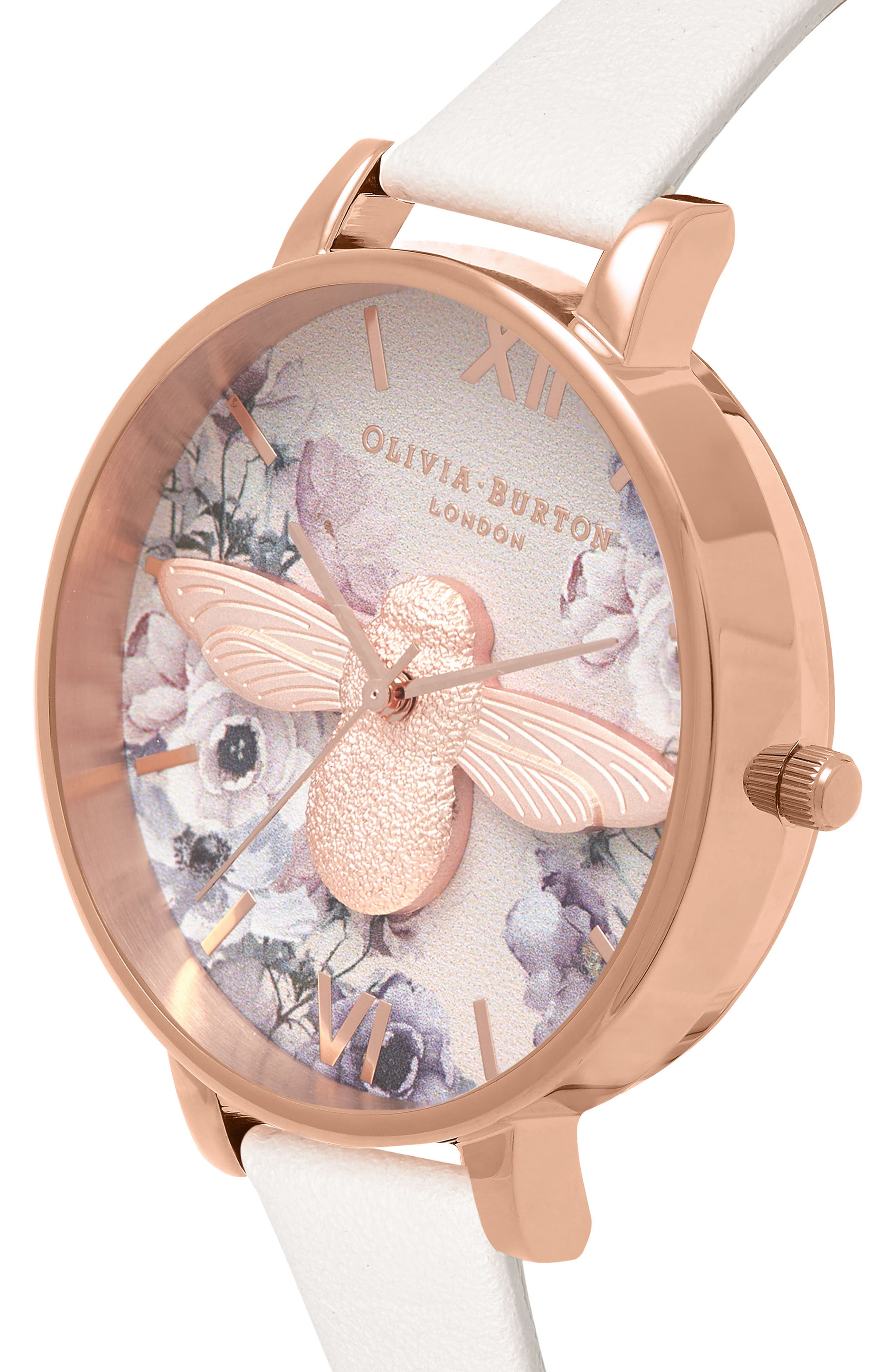 Watercolor Floral Leather Strap Watch, 38mm,                             Alternate thumbnail 3, color,                             BLUSH/ BEE/ ROSE GOLD