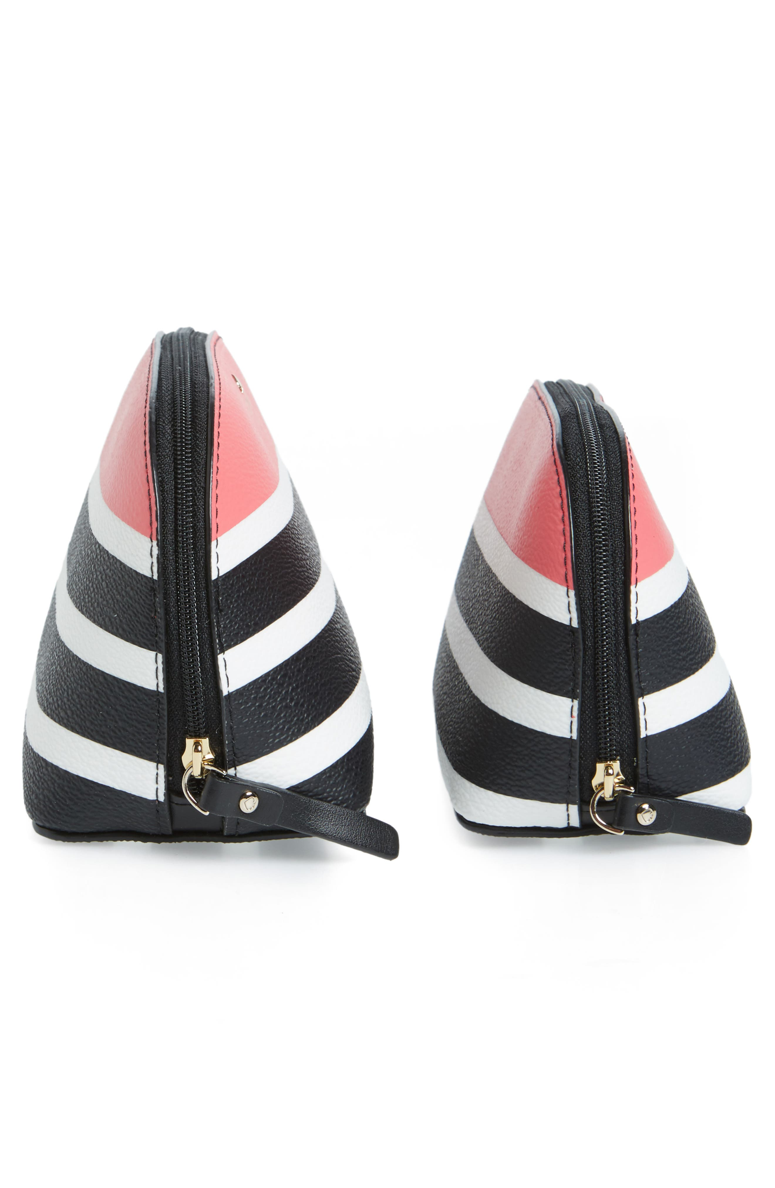 hyde lane stripe abalene set of 2 faux leather pouches,                             Alternate thumbnail 4, color,                             001