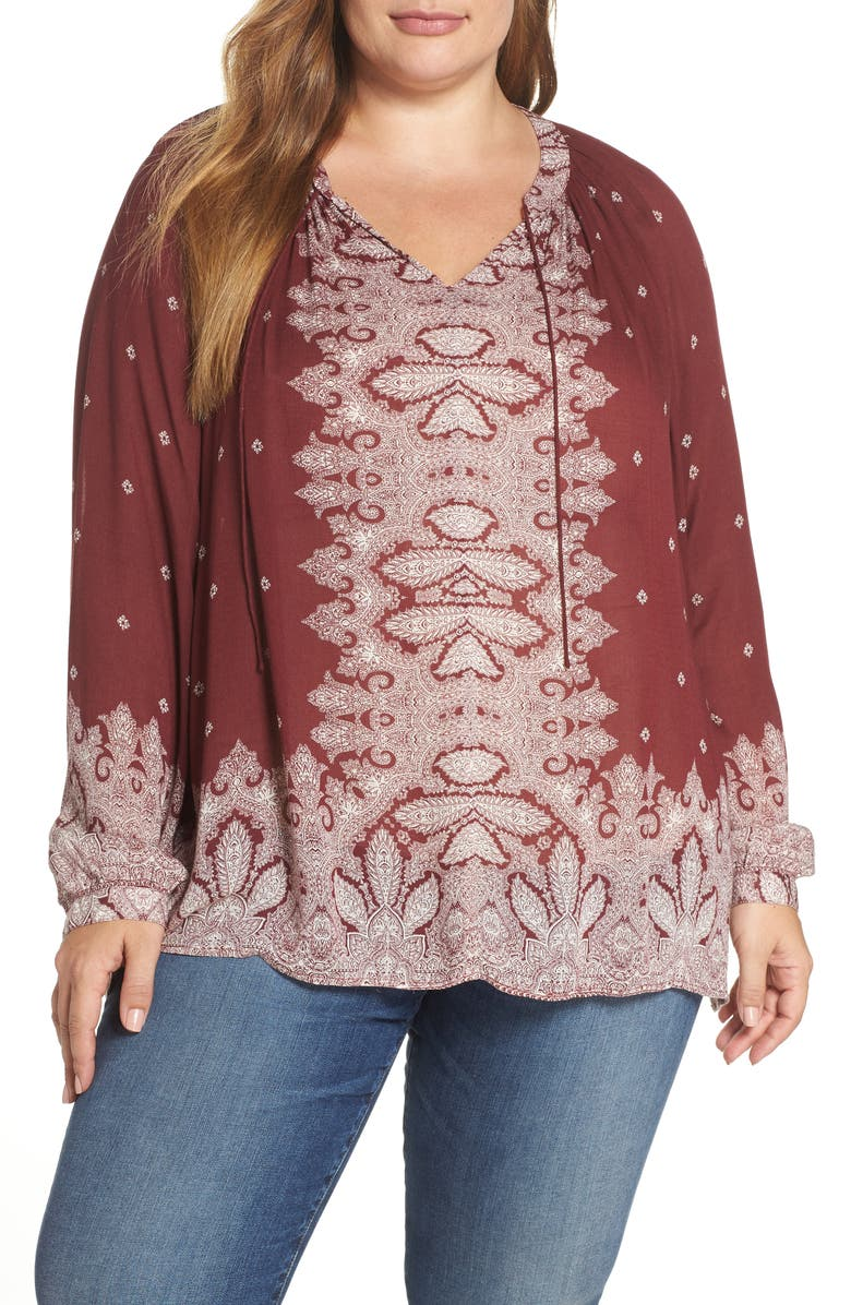 Lucky Brand Tops BORDER PRINT PEASANT TOP