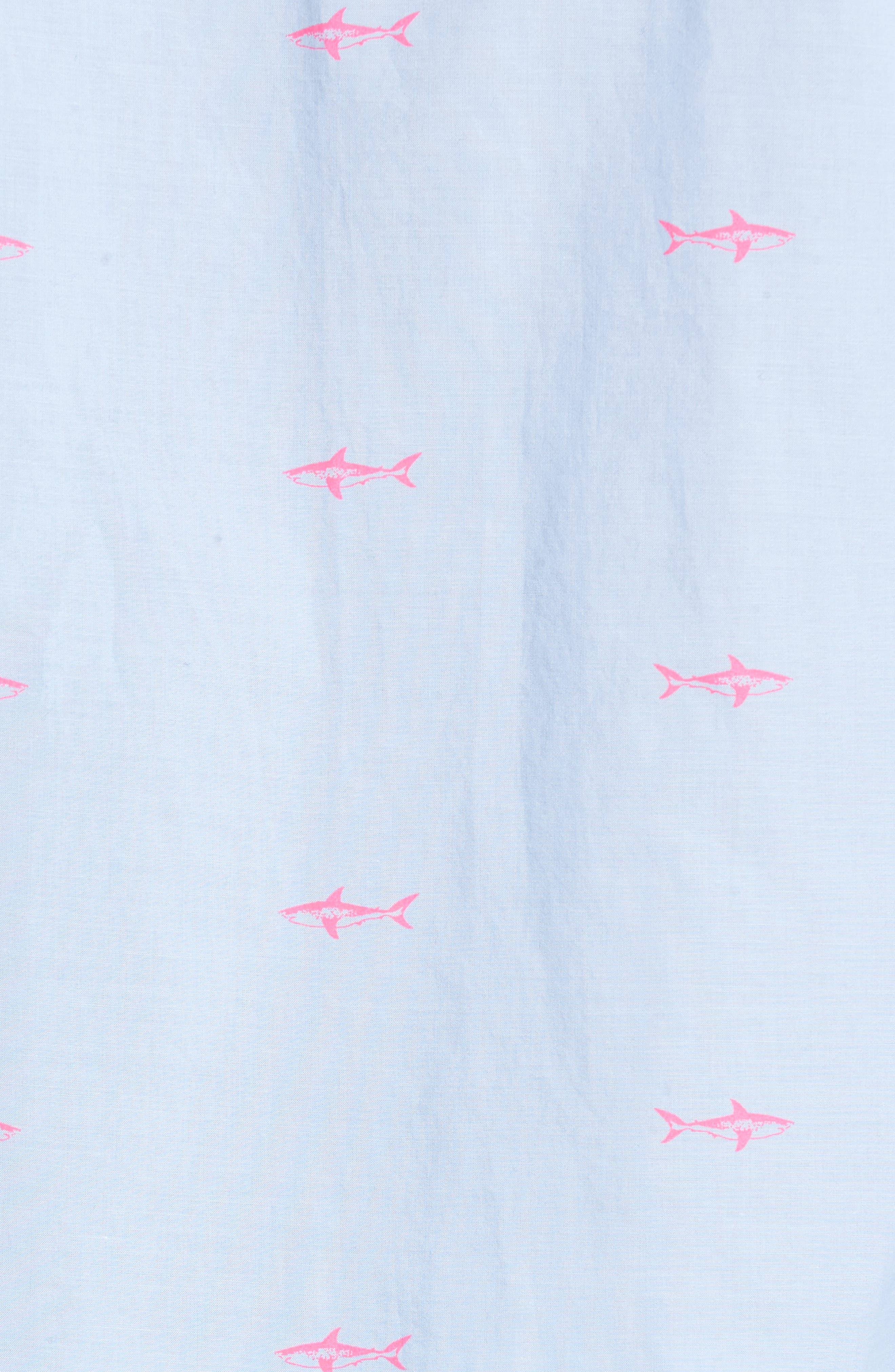 Slim Fit Summerweight Shark Print Sport Shirt,                             Alternate thumbnail 5, color,                             400