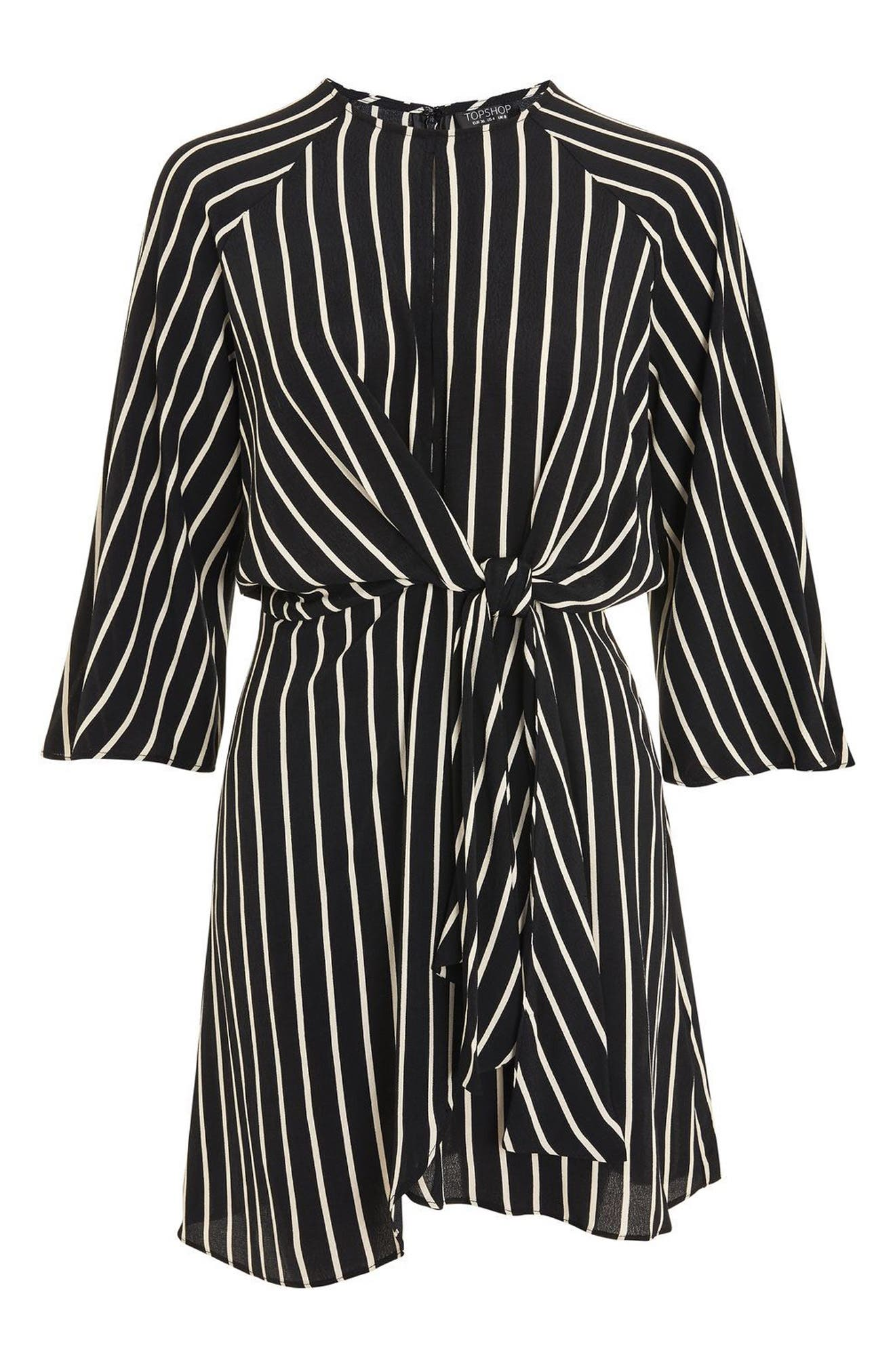 Stripe Knot Front Minidress,                             Alternate thumbnail 7, color,