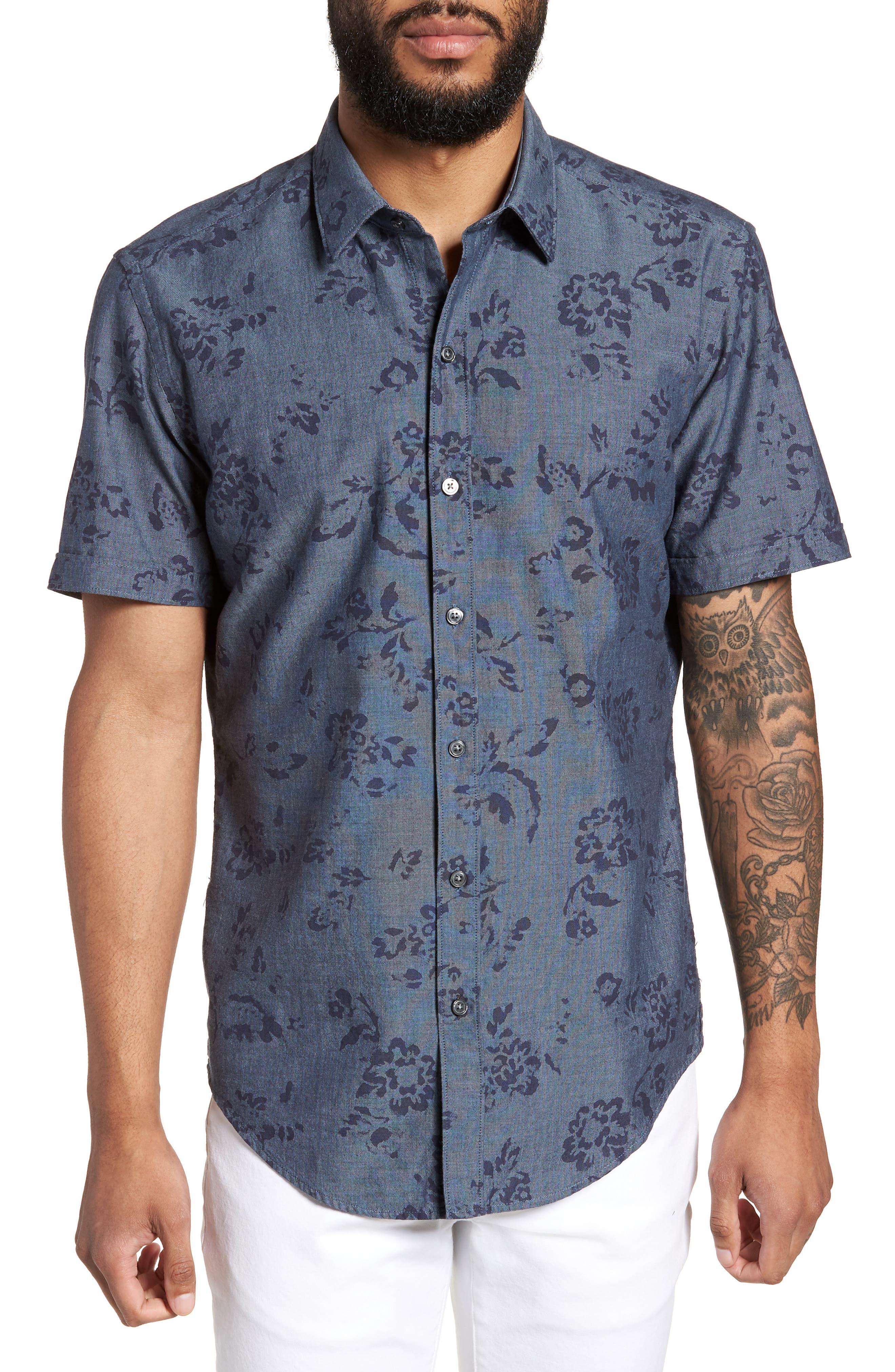 Robb Trim Fit Floral Short Sleeve Sport Shirt,                         Main,                         color, 410