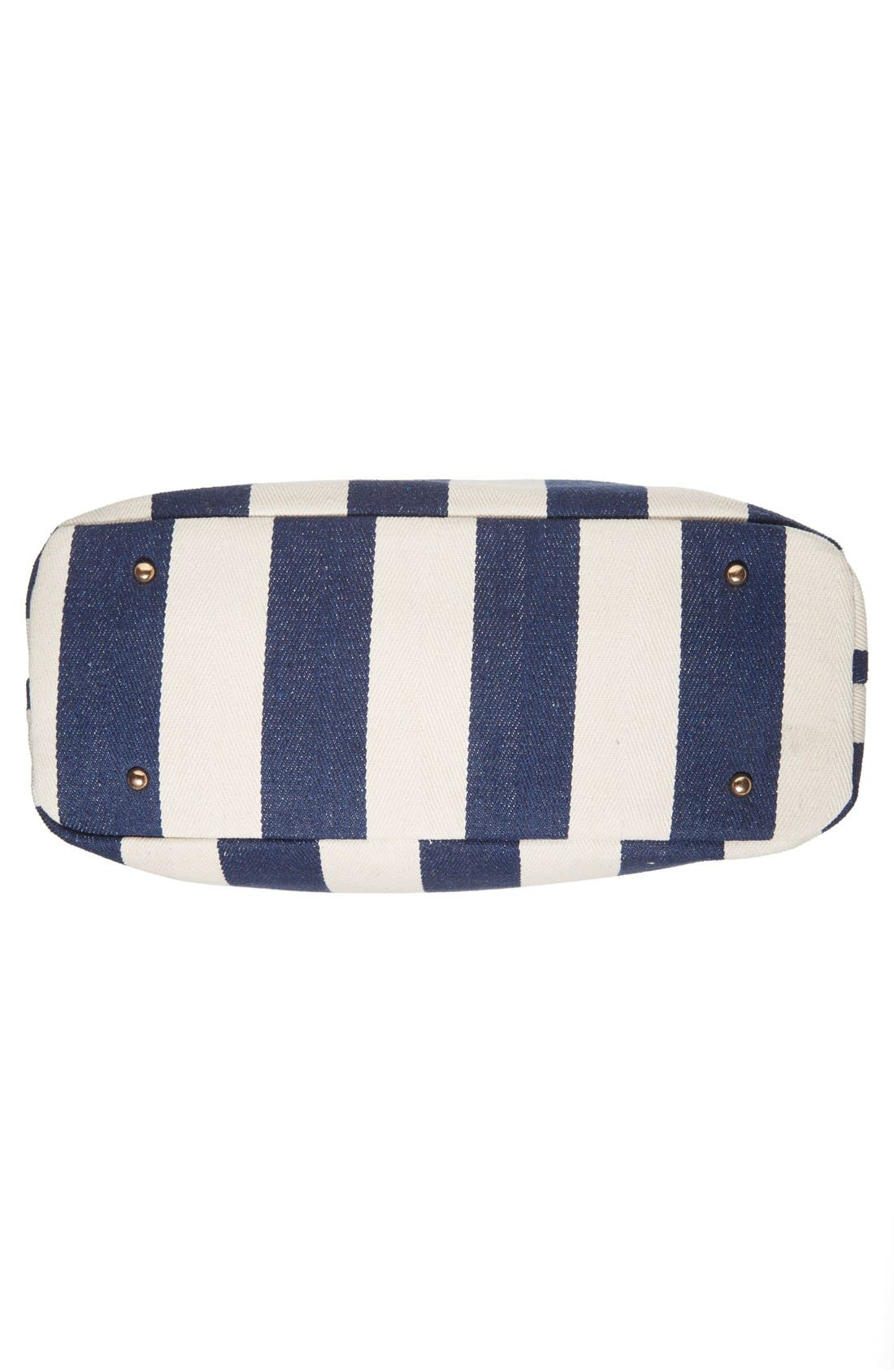 SOLE SOCIETY,                             'Oversize Millie' Stripe Print Tote,                             Alternate thumbnail 9, color,                             NAVY CREAM
