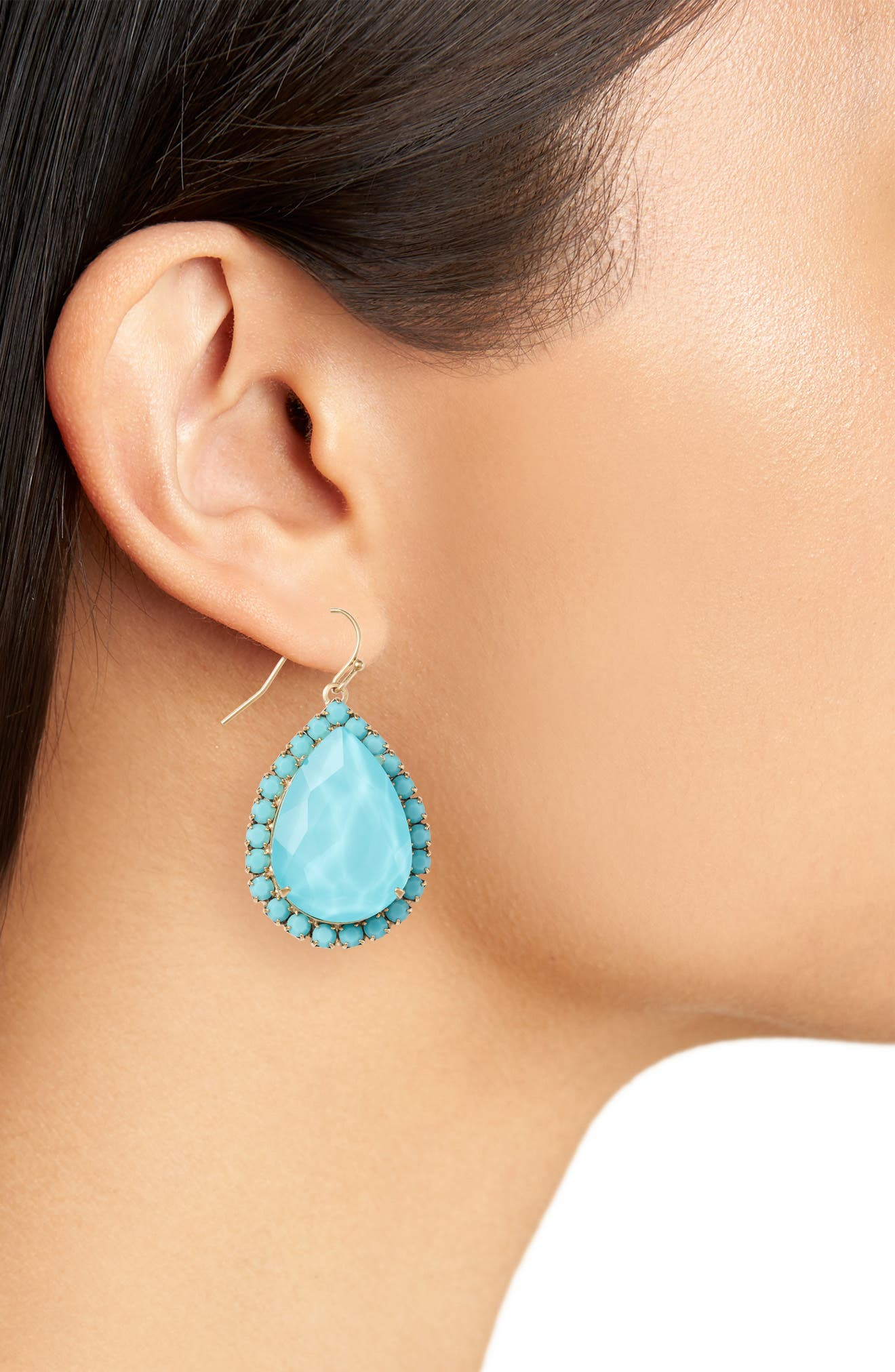 Krista Crystal Drop Earrings,                             Alternate thumbnail 2, color,                             TURQUOISE