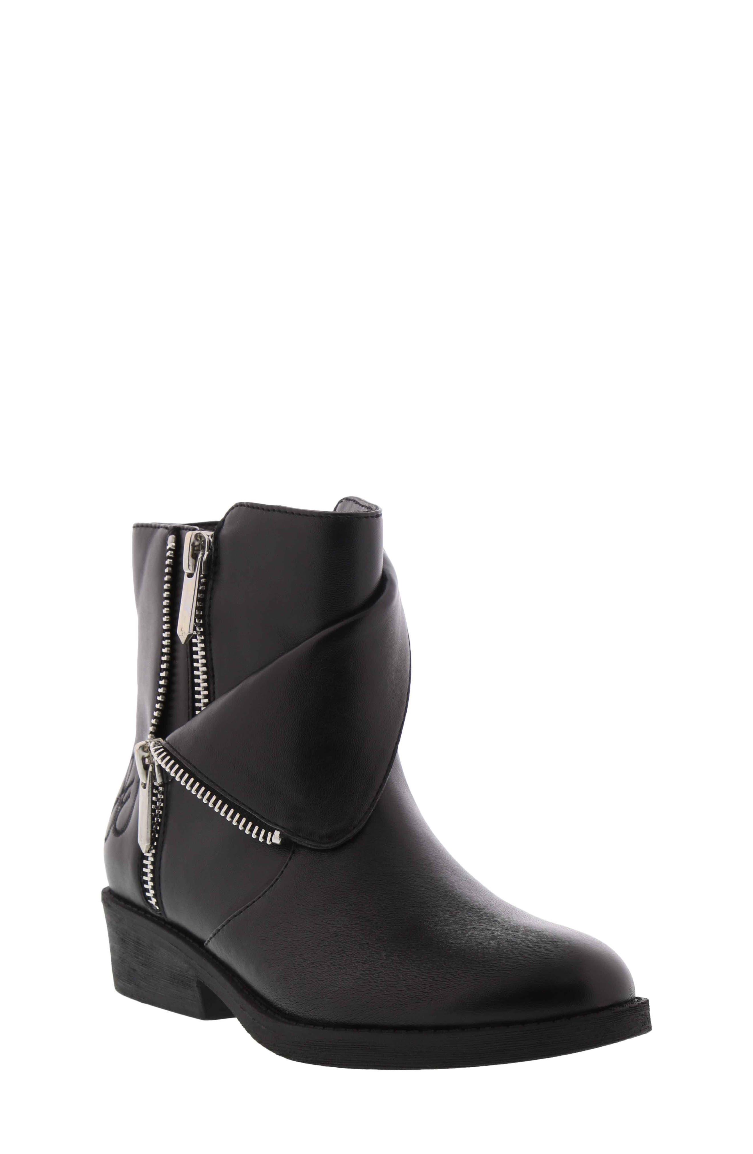Becka Tessa Faux Leather Moto Boot,                         Main,                         color, BLACK