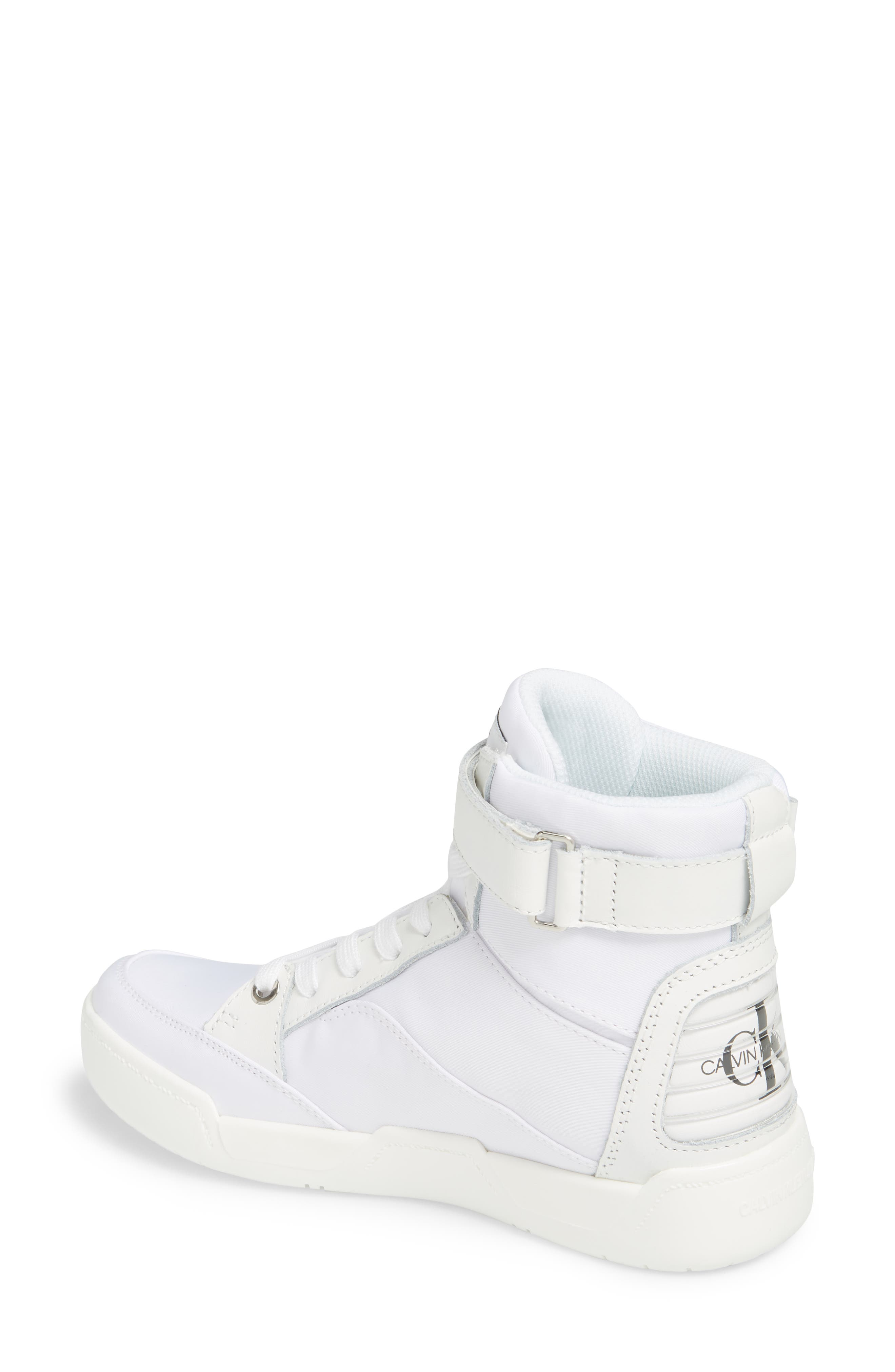 Nelda High Top Sneaker,                             Alternate thumbnail 2, color,                             WHITE LEATHER