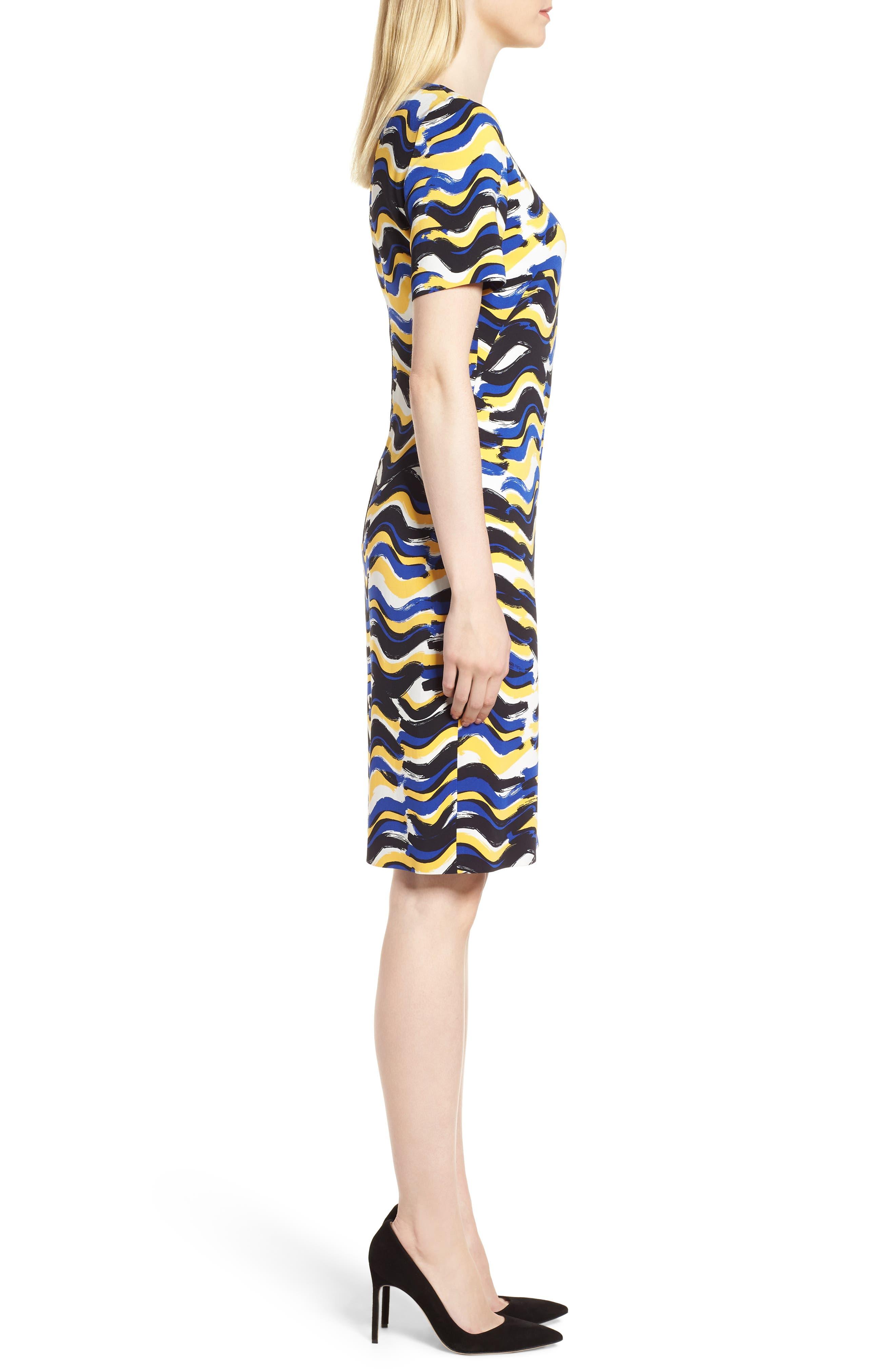 BOSS,                             Dashiba Color Waves Dress,                             Alternate thumbnail 3, color,                             782