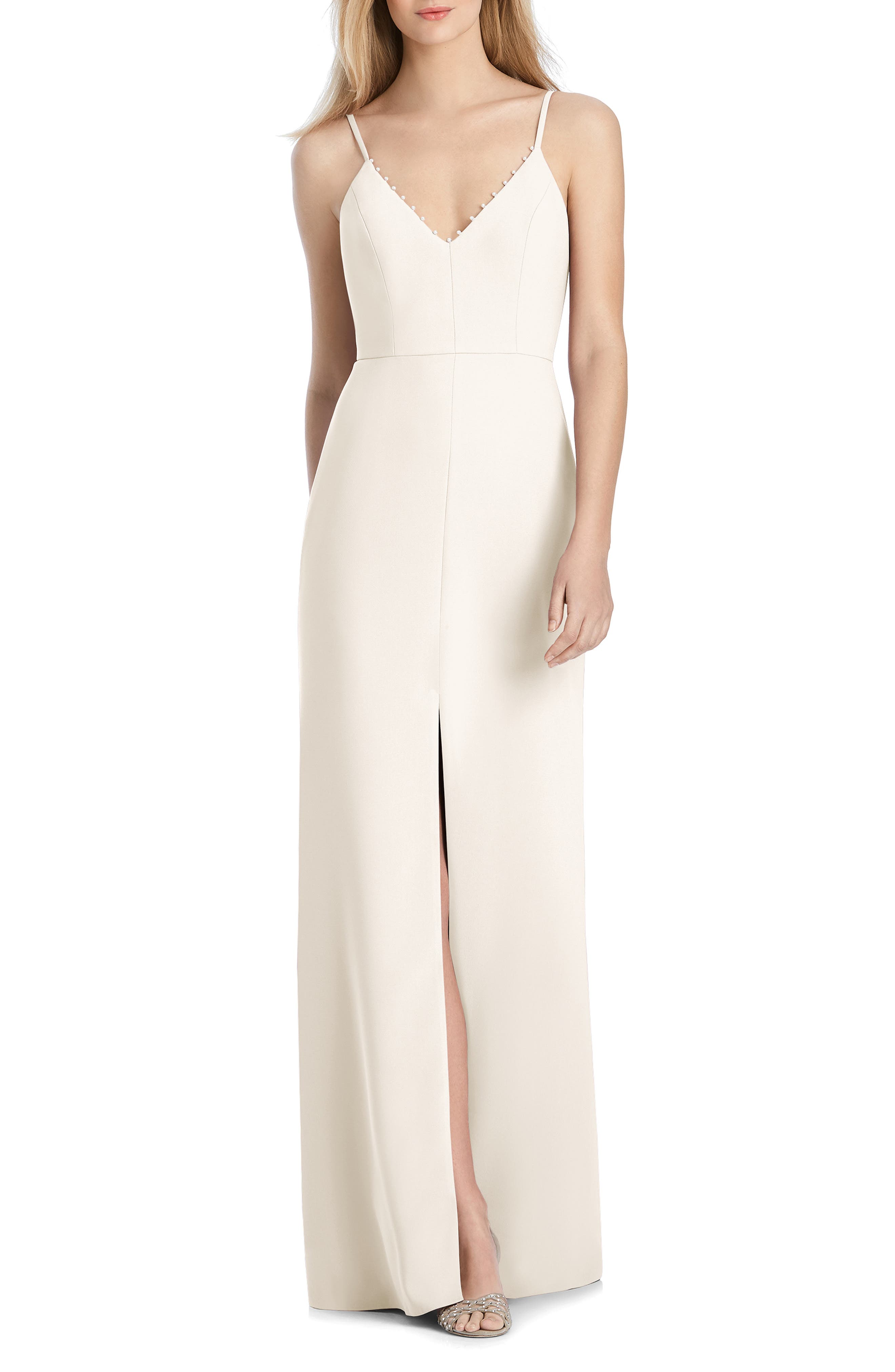 Lela Rose Bridesmaid V-Neck Crepe Mermaid Gown, Ivory