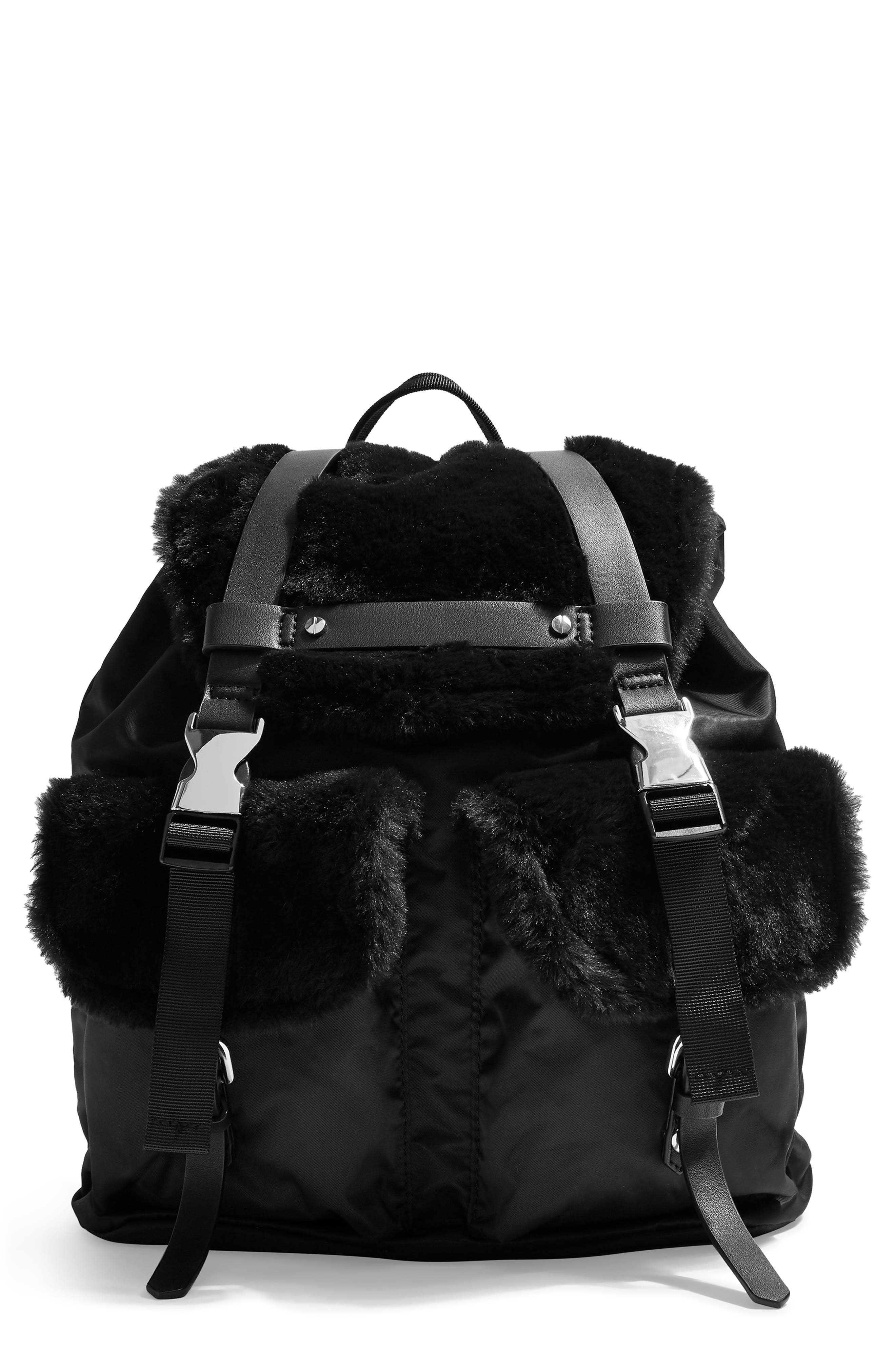 Boston Faux Fur Backpack,                             Main thumbnail 1, color,                             BLACK