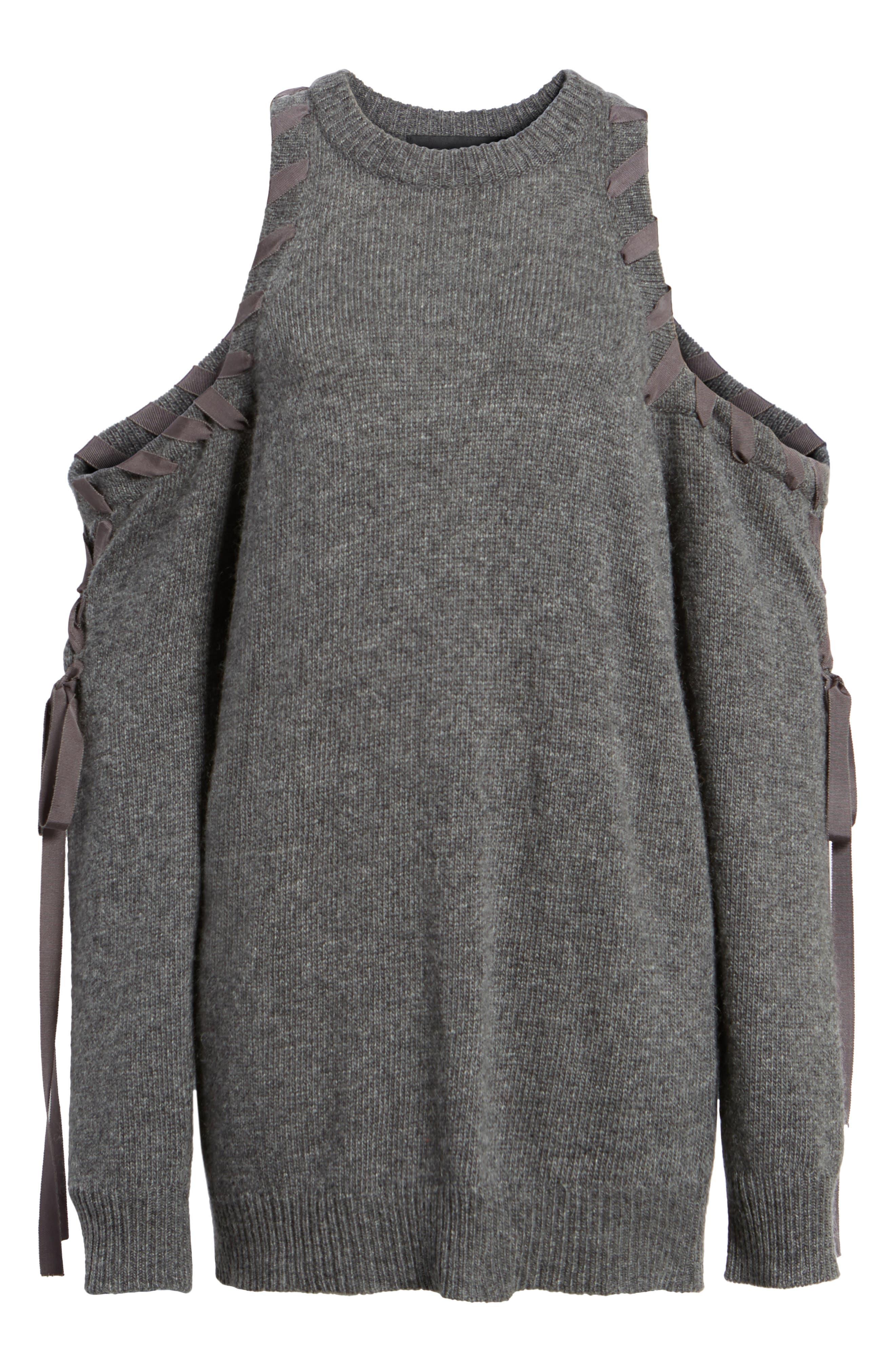 Lace-Up Cold Shoulder Minidress,                             Alternate thumbnail 6, color,                             030