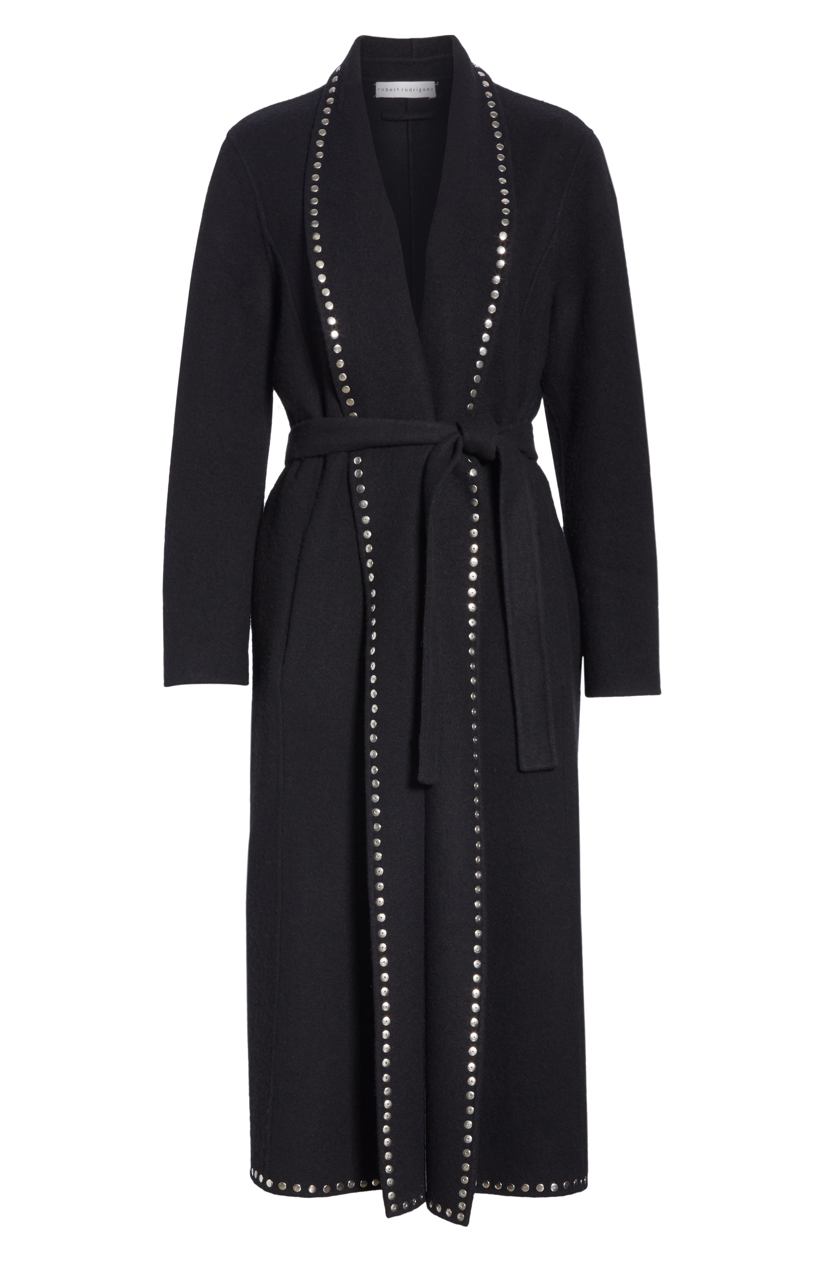 Studded Wool Blend Coat,                             Alternate thumbnail 5, color,                             BLACK