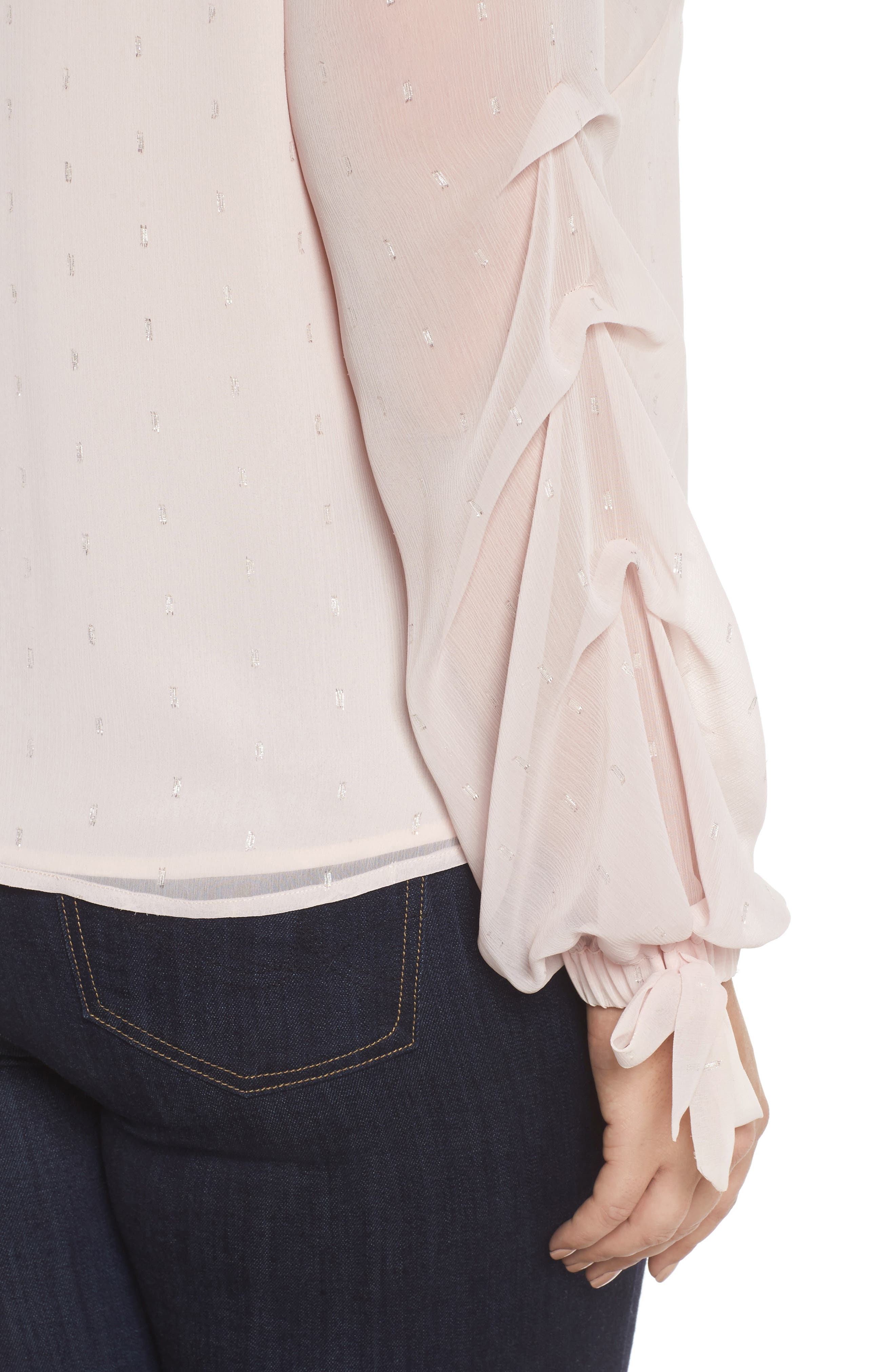 Tiered Tie Cuff Chiffon Blouse,                             Alternate thumbnail 4, color,                             PINK MIST